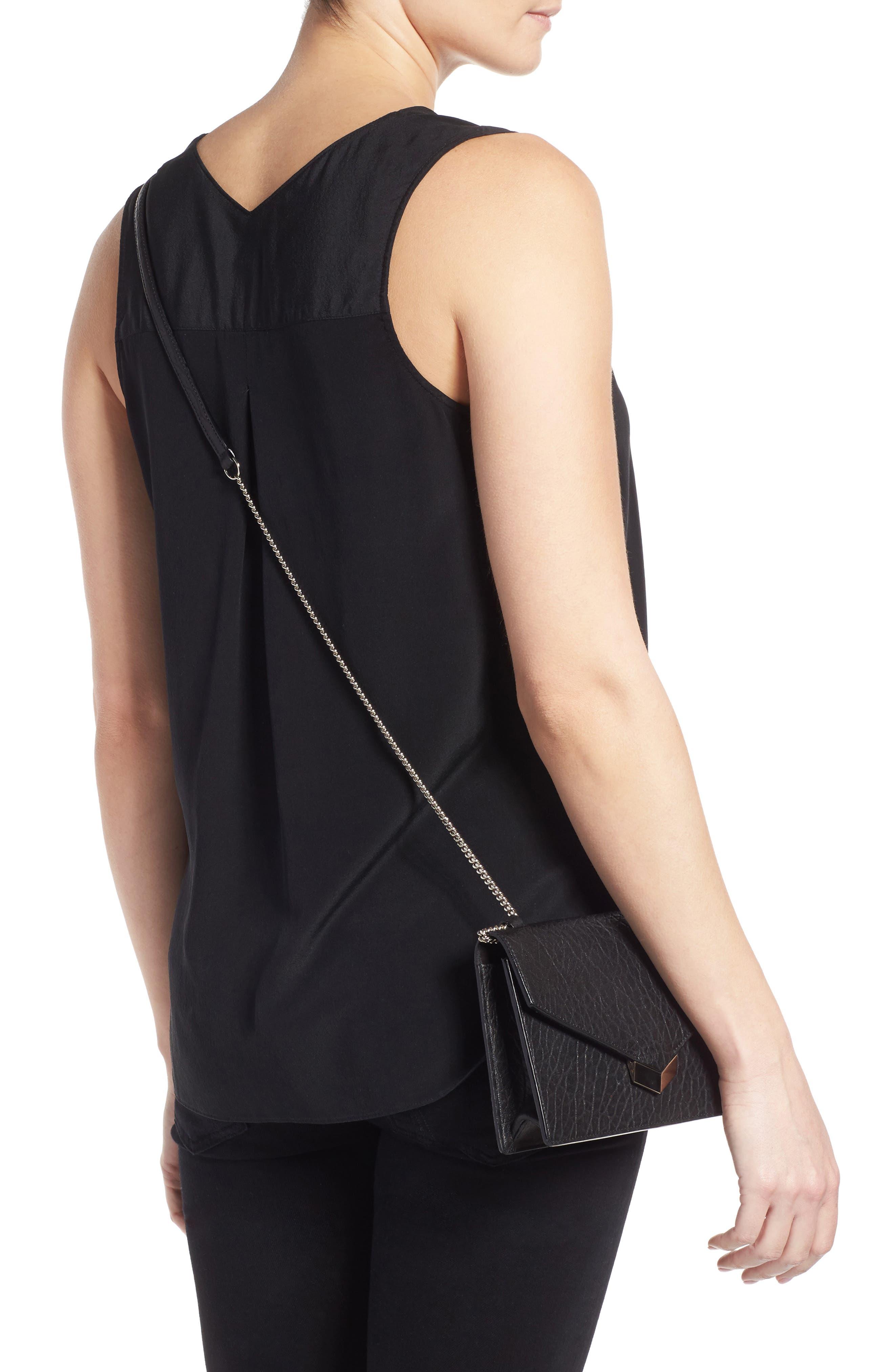 Leila Grainy Lambskin Leather Crossbody Bag,                             Alternate thumbnail 3, color,                             001
