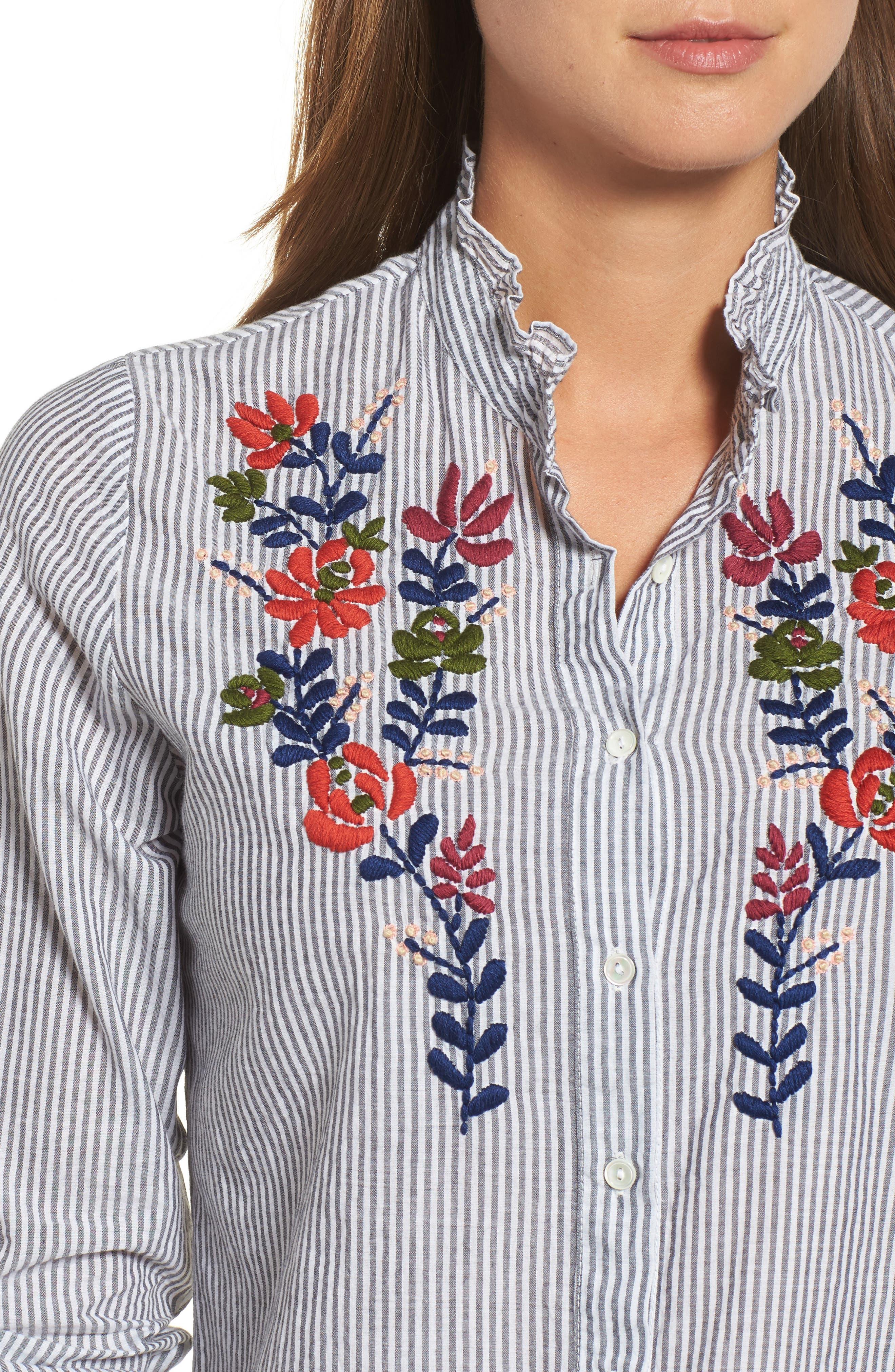 Velvet Embroidered Stripe Shirt,                             Alternate thumbnail 4, color,                             960