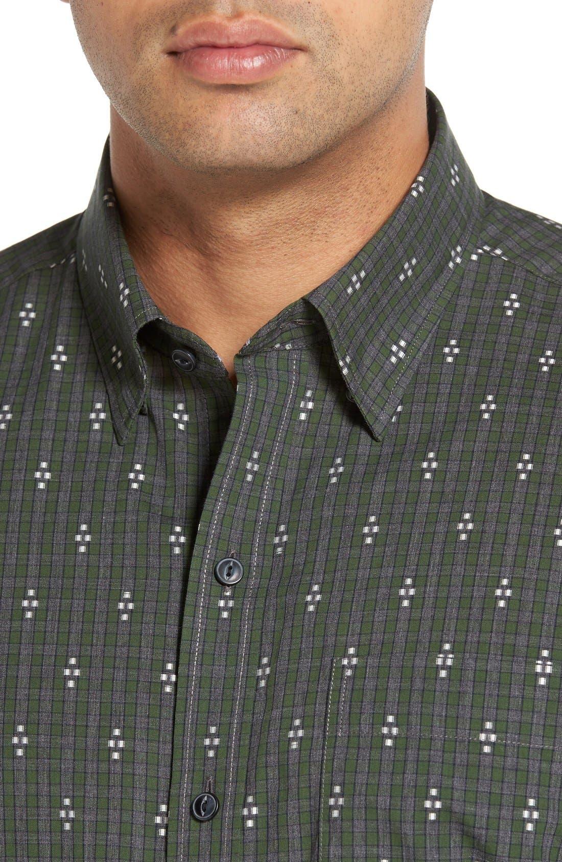 'Maxwell' Jacquard Check Sport Shirt,                             Alternate thumbnail 3, color,                             020