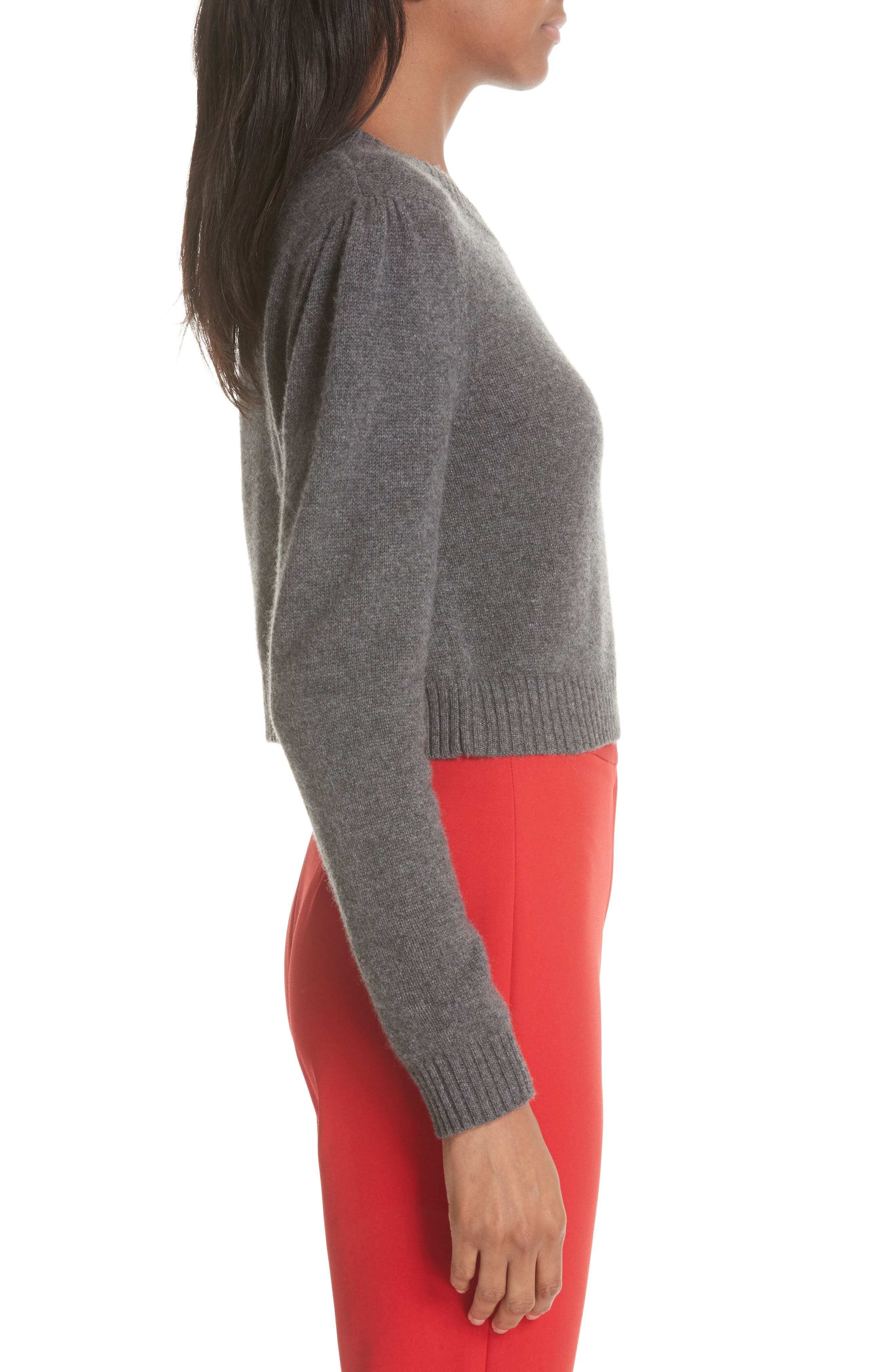 Cashmere Crop Pin Sweater,                             Alternate thumbnail 3, color,                             HEATHER GREY