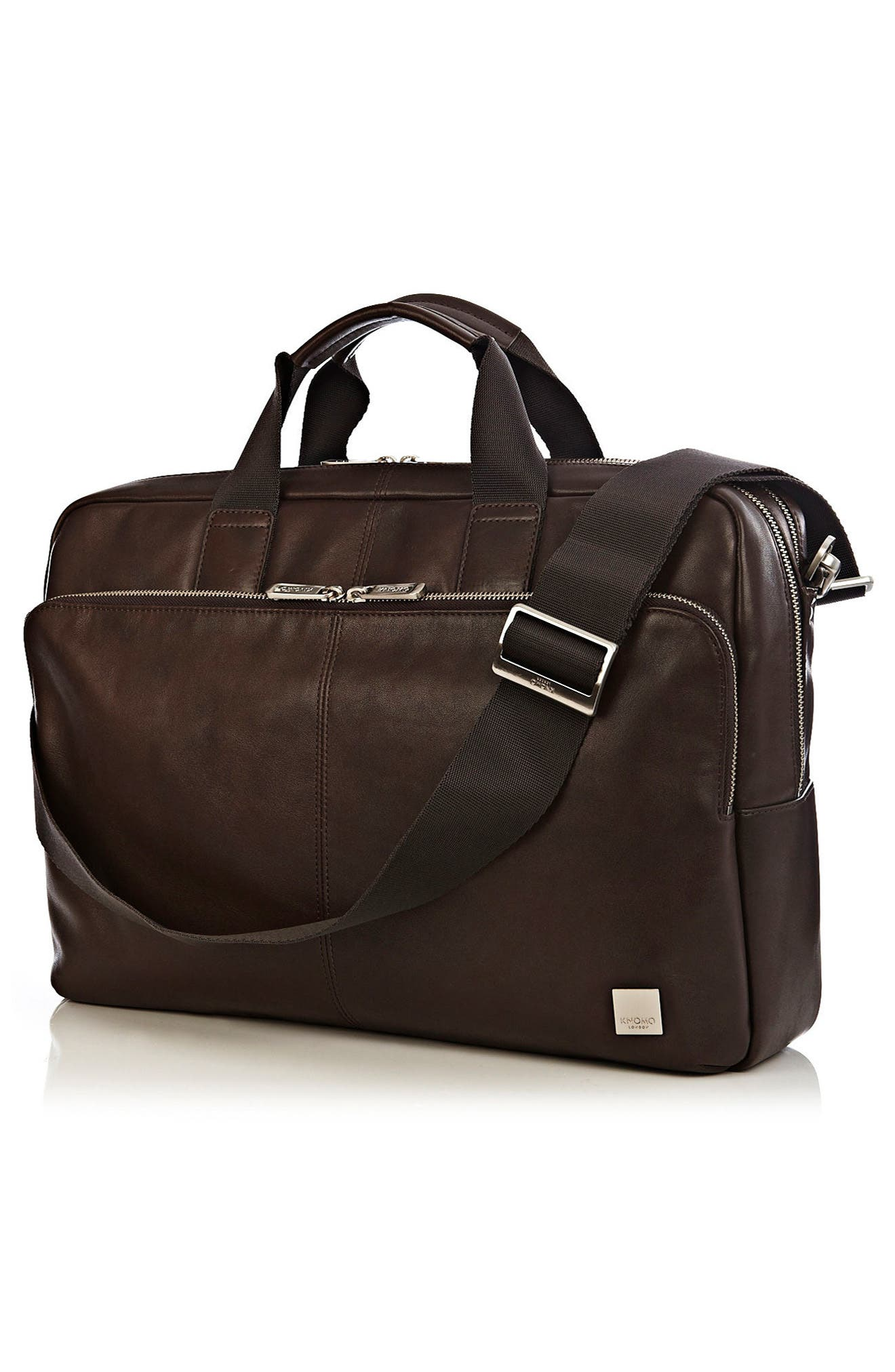 Brompton Amesbury Leather Briefcase,                             Alternate thumbnail 3, color,                             BROWN