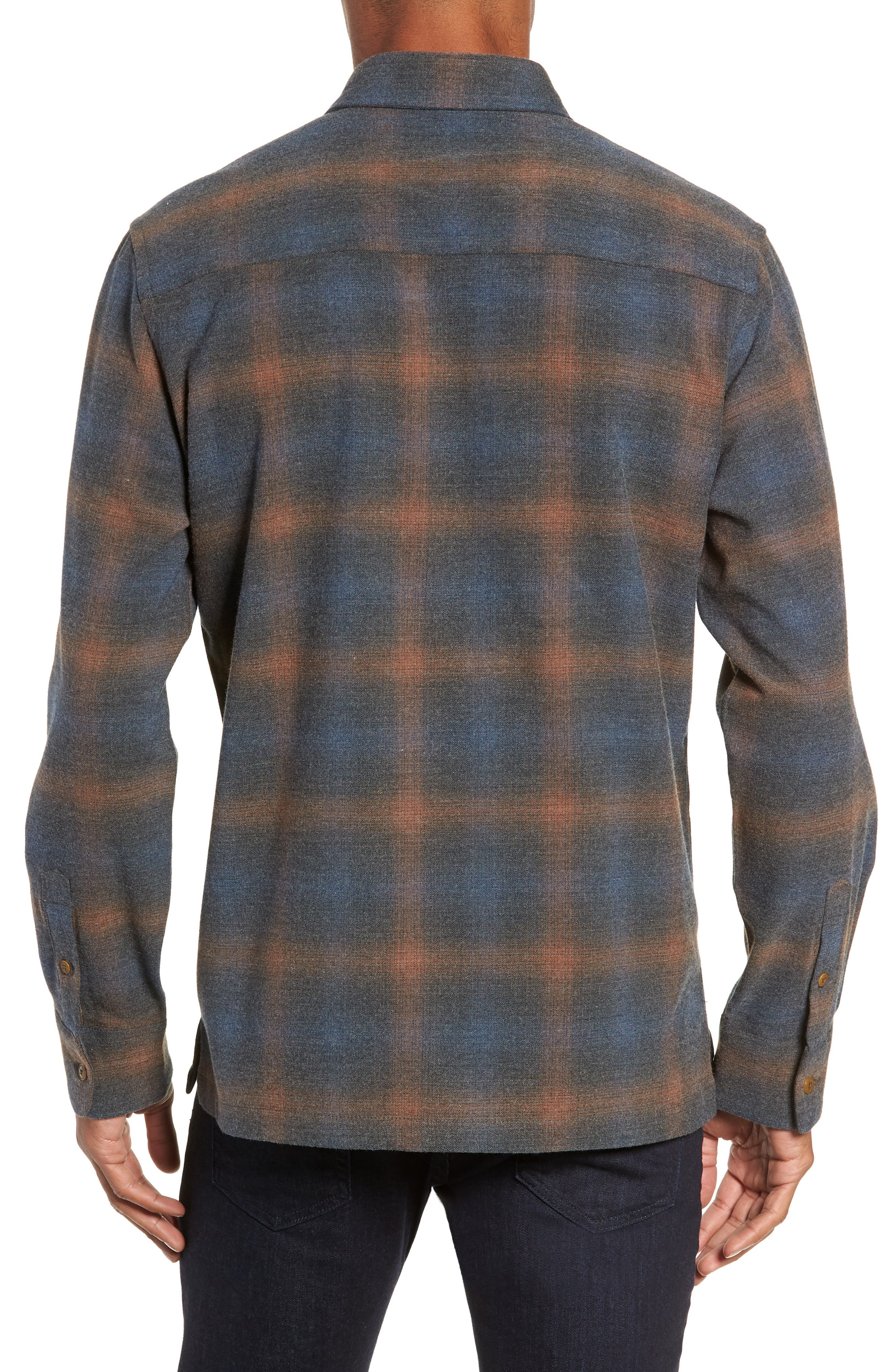 Washburn Regular Fit Plaid Stretch Brushed Flannel Shirt,                             Alternate thumbnail 3, color,                             BLUE WING TEAL HEATHER