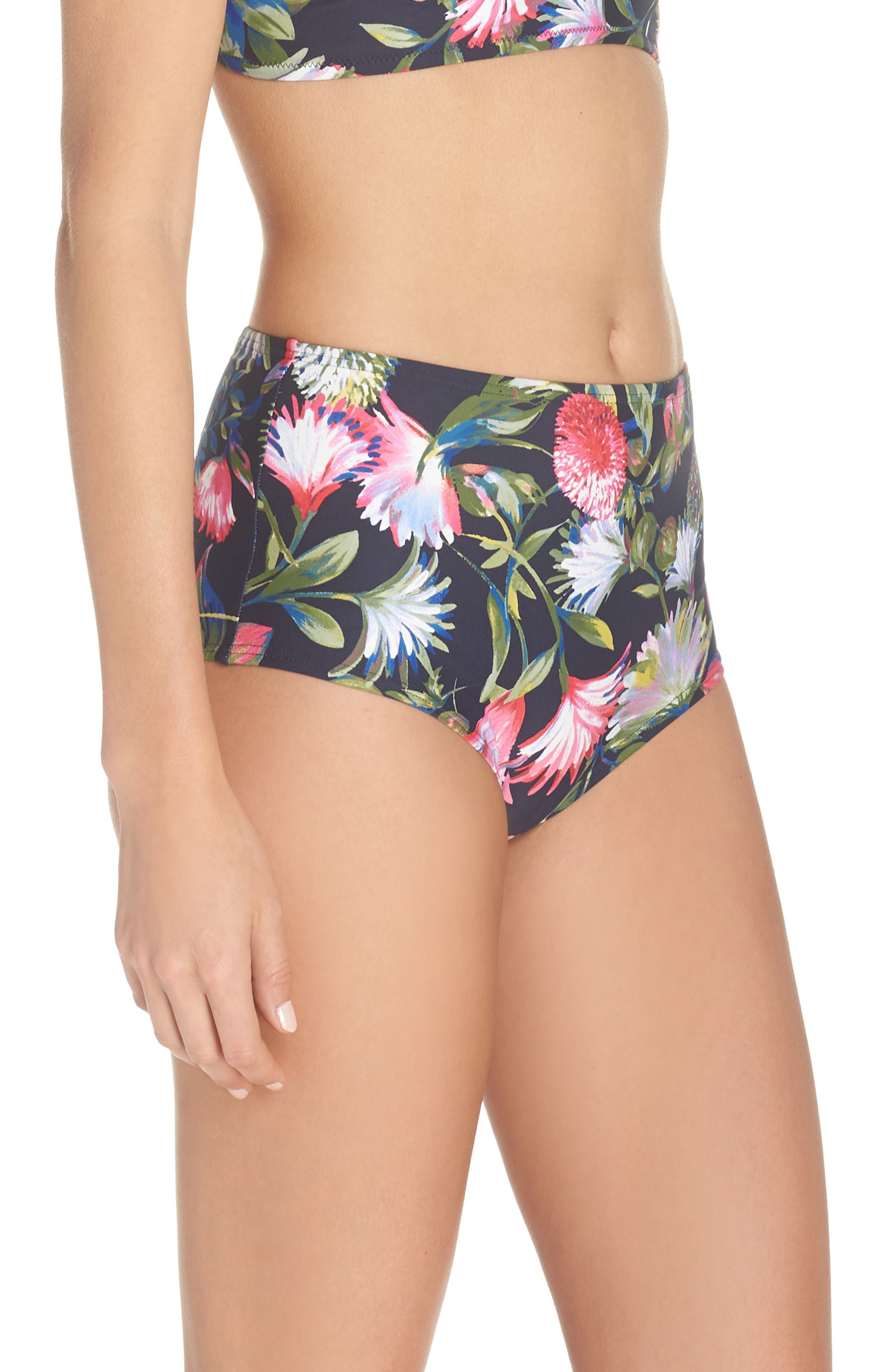 Floral Seamless High Waist Bikini Bottoms,                             Alternate thumbnail 3, color,                             NAVY