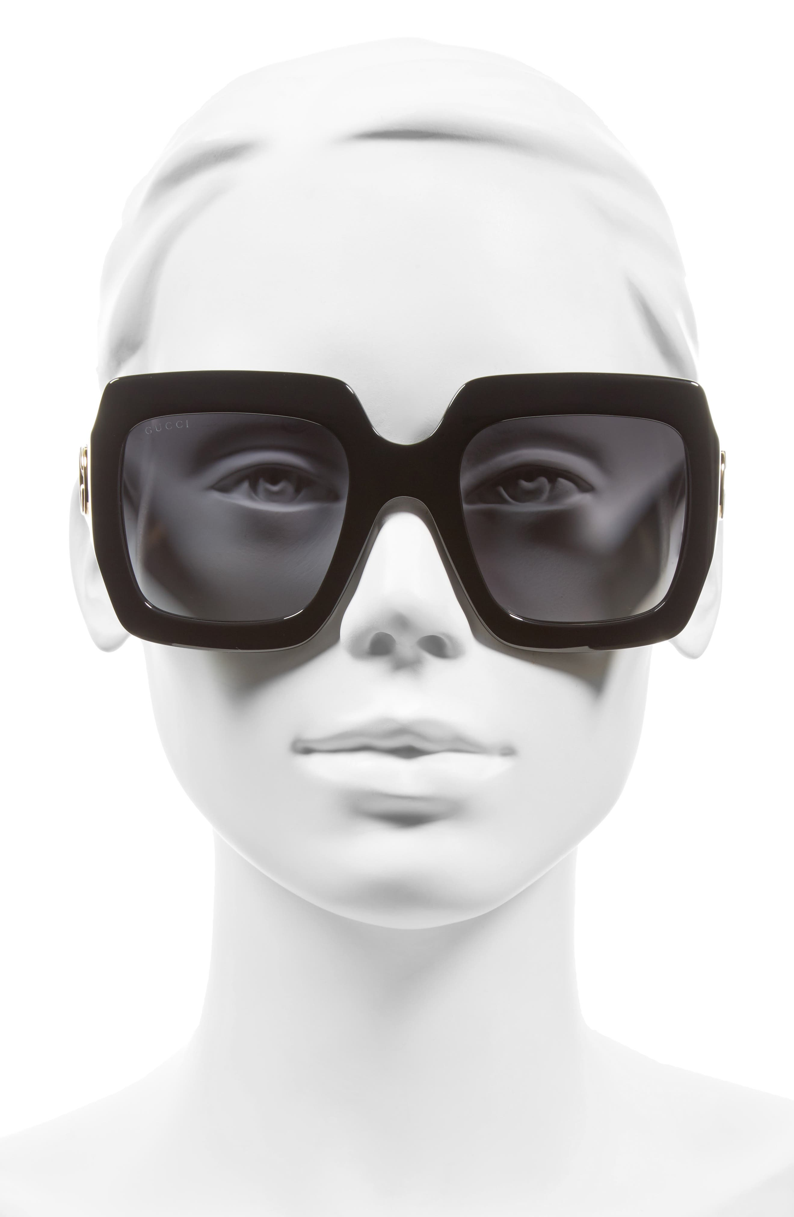 54mm Square Sunglasses,                             Alternate thumbnail 3, color,                             BLACK/ GREY