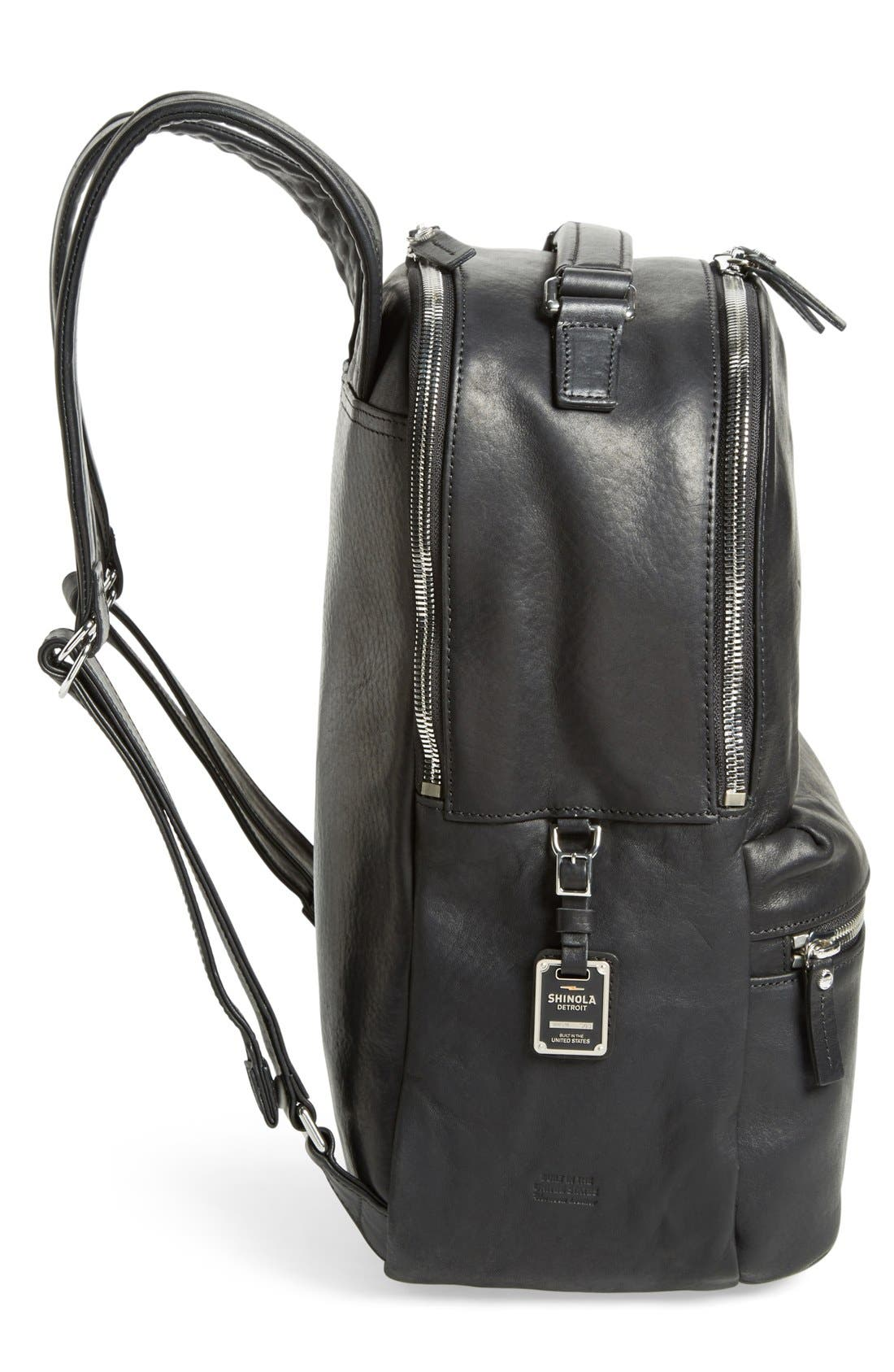 Runwell Leather Laptop Backpack,                             Alternate thumbnail 3, color,                             BLACK