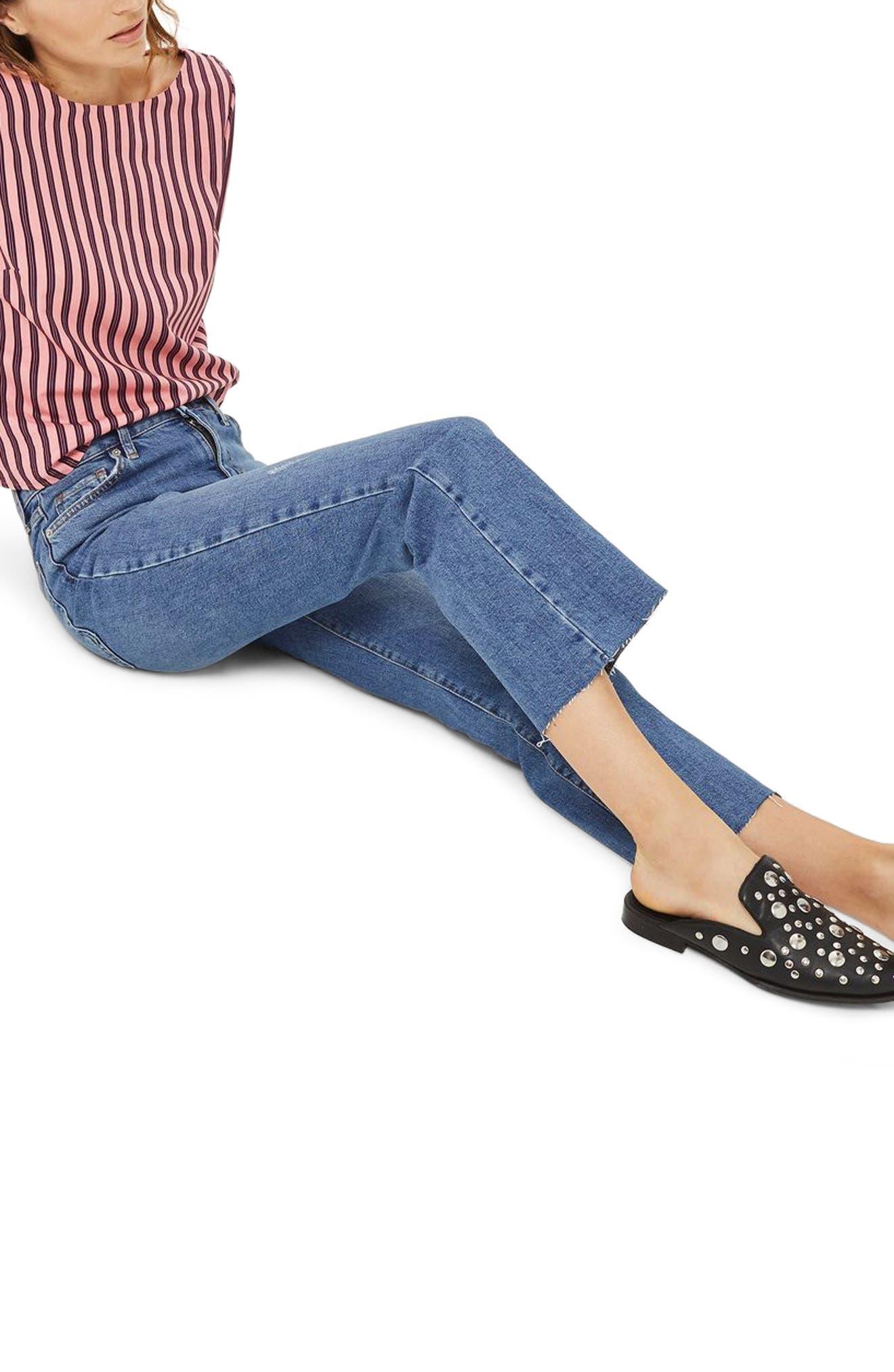 Dree Crop Flare Jeans,                             Alternate thumbnail 3, color,                             400
