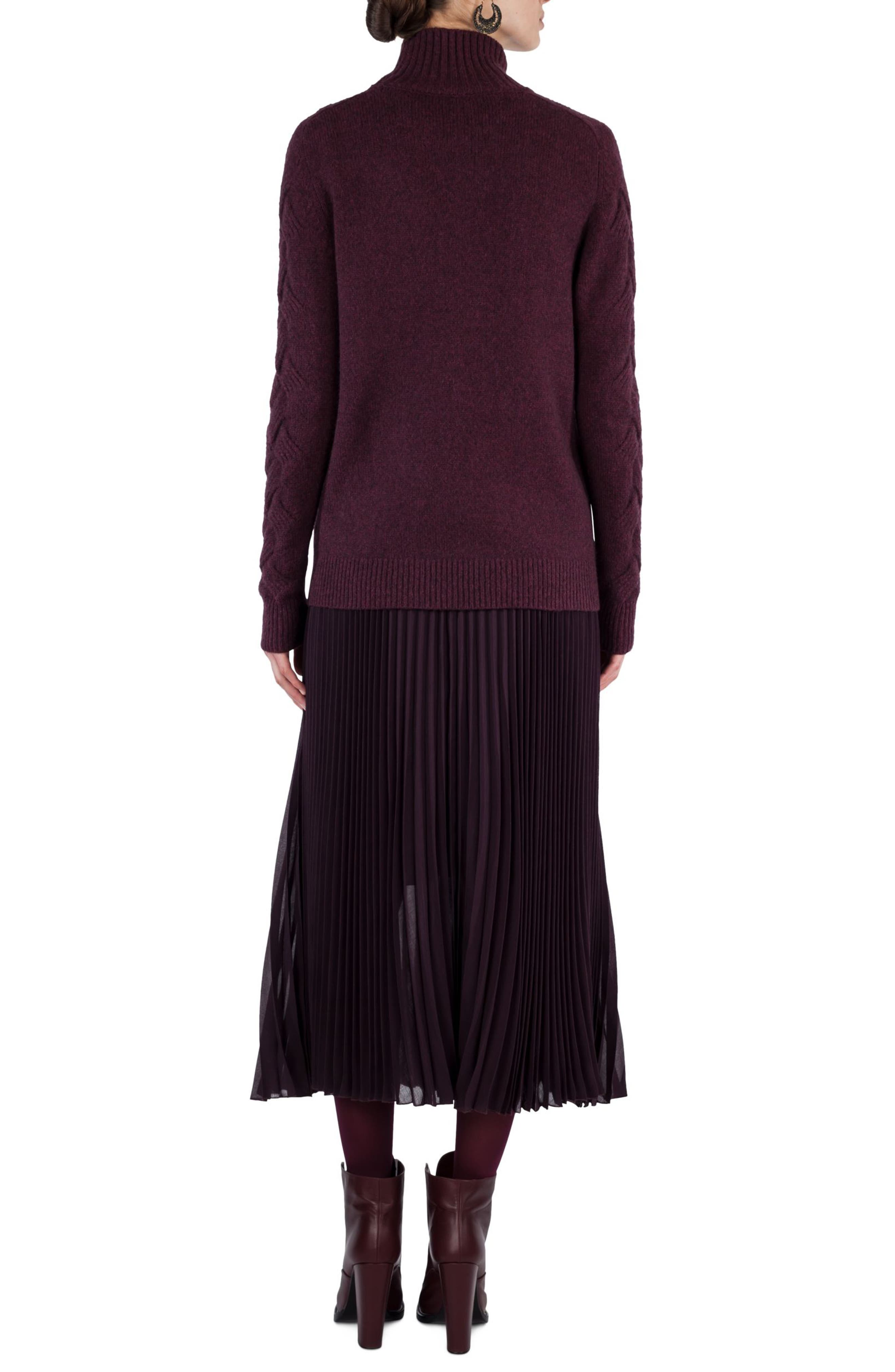 Plissé Midi Skirt,                             Alternate thumbnail 5, color,