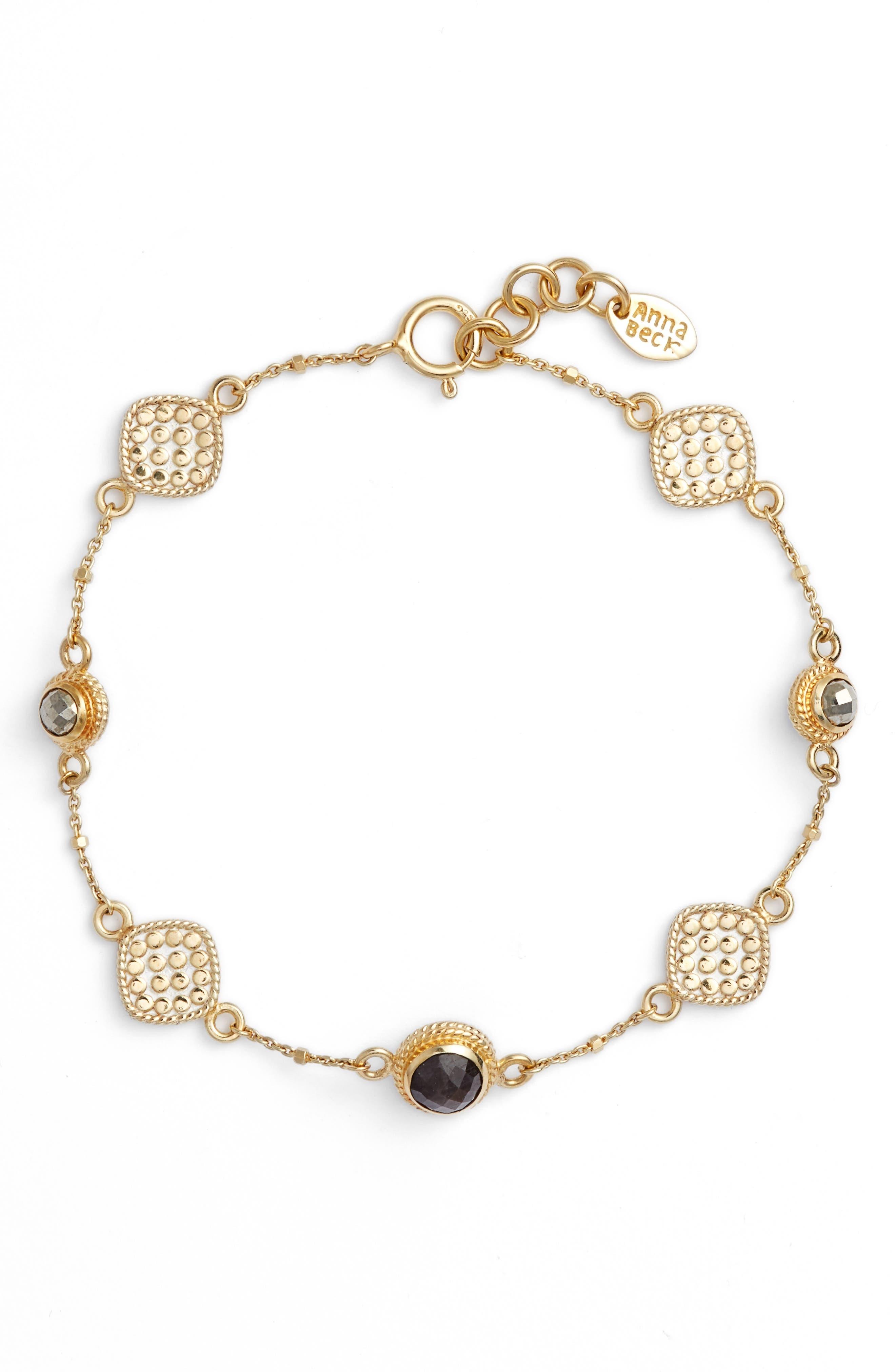 Grey Sapphire & Pyrite Bracelet,                         Main,                         color, 020