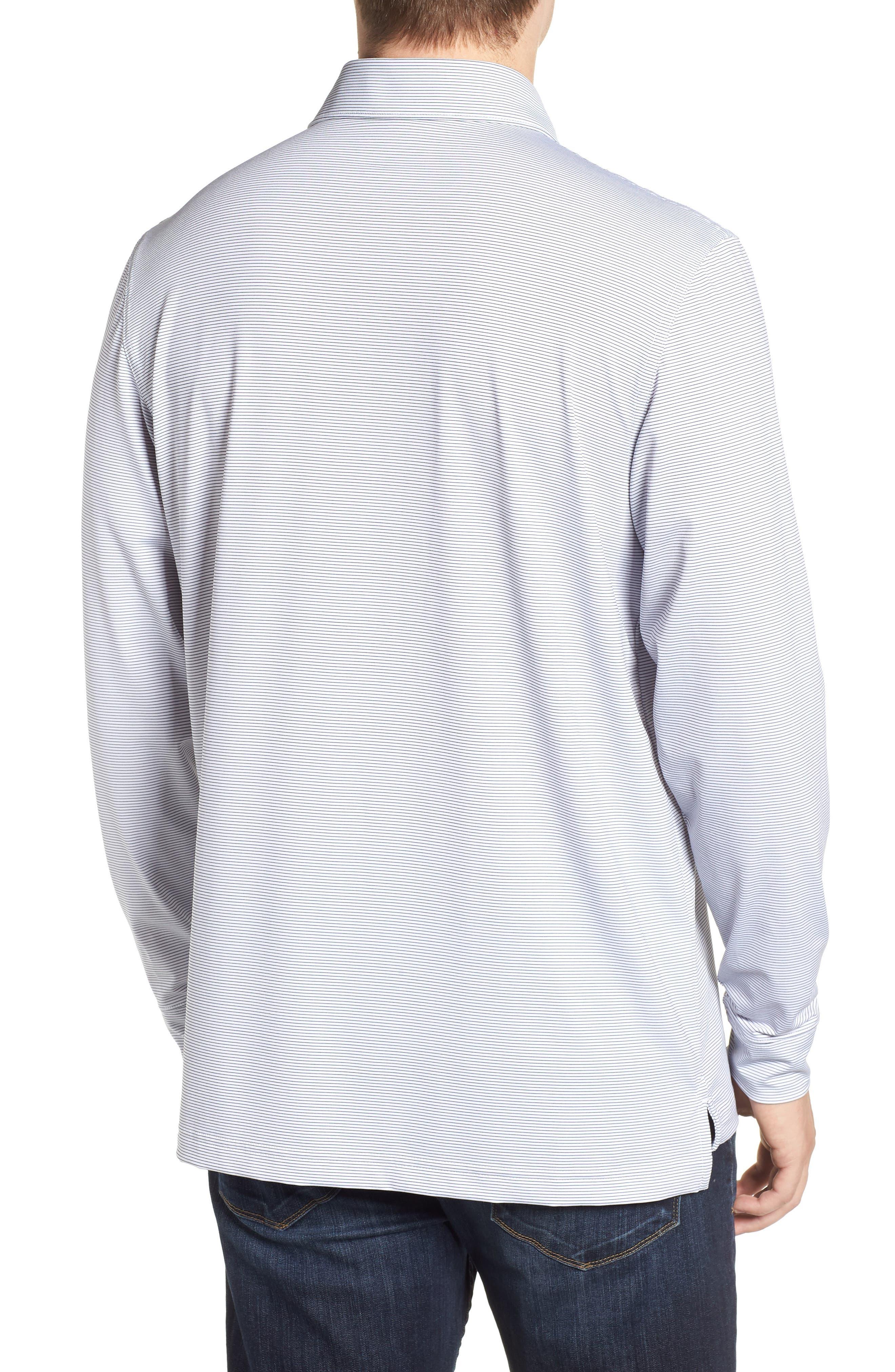 Stripe Long Sleeve Regular Fit Polo,                             Alternate thumbnail 2, color,                             100