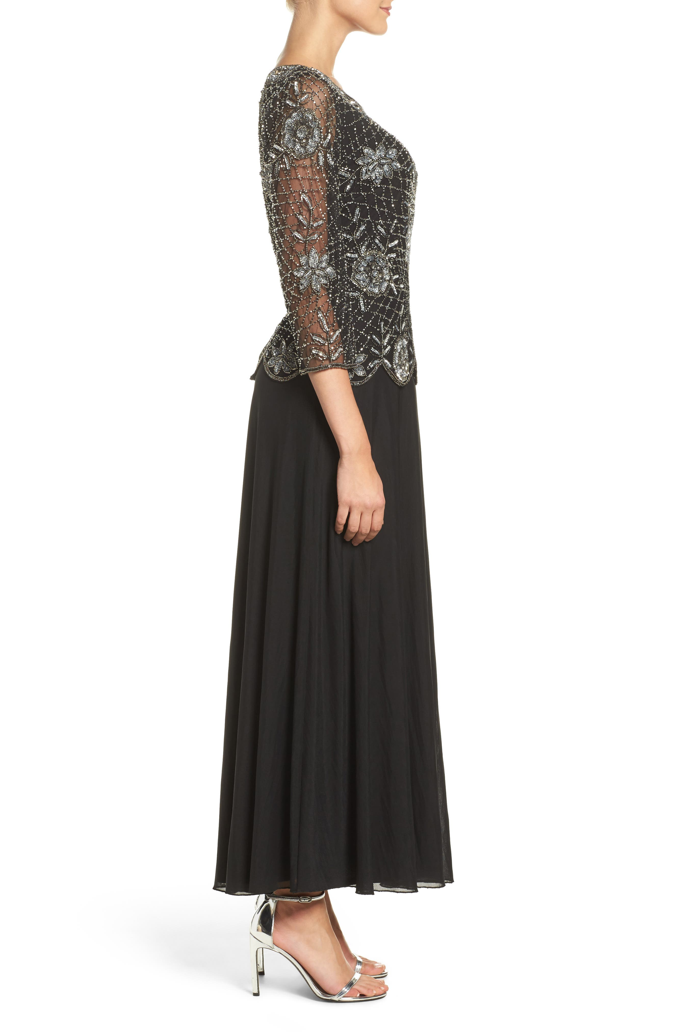 Embellished Mesh Gown,                             Alternate thumbnail 4, color,                             013