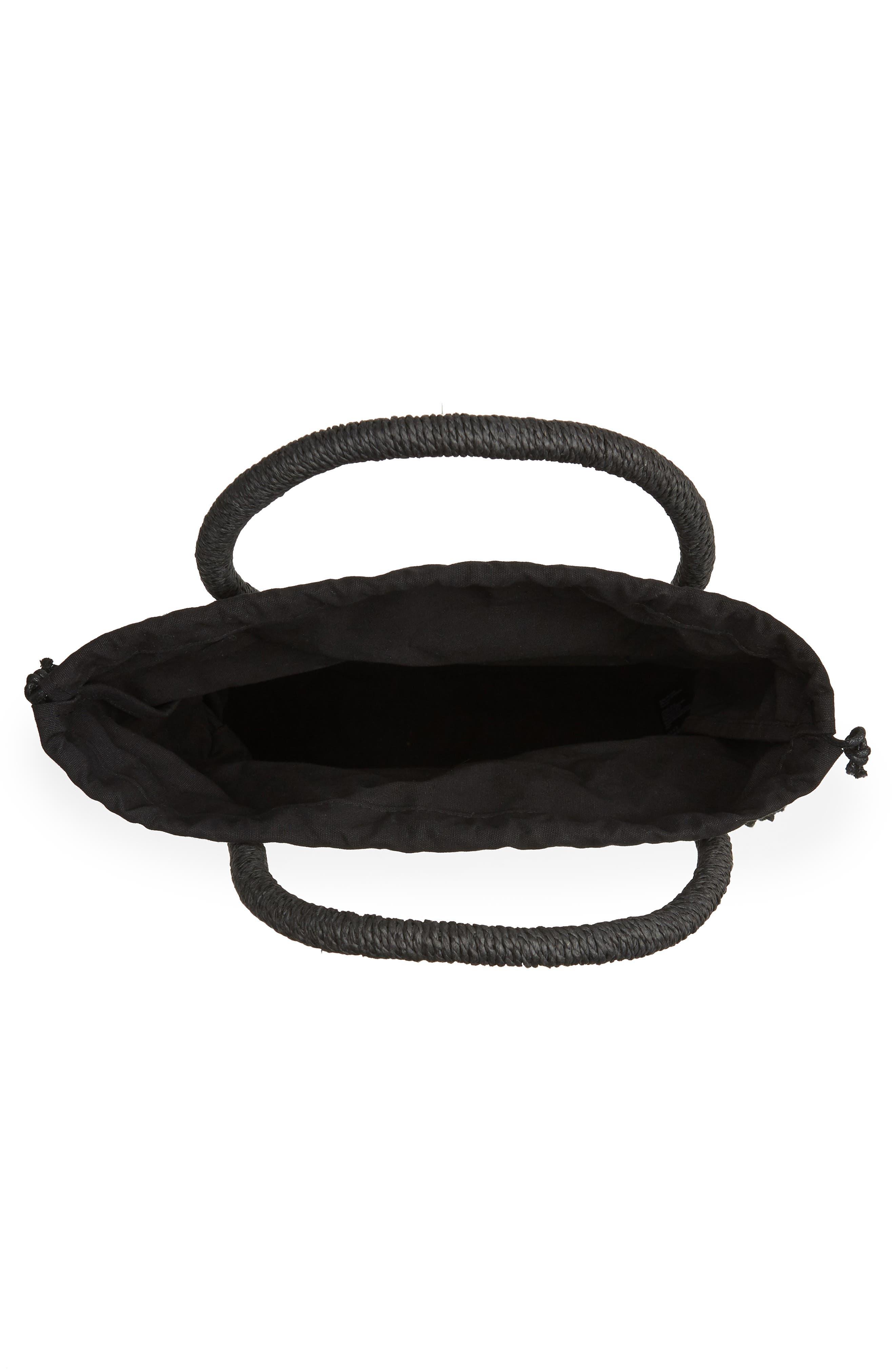Bella Straw Circle Tote Handbag,                             Alternate thumbnail 4, color,                             BLACK