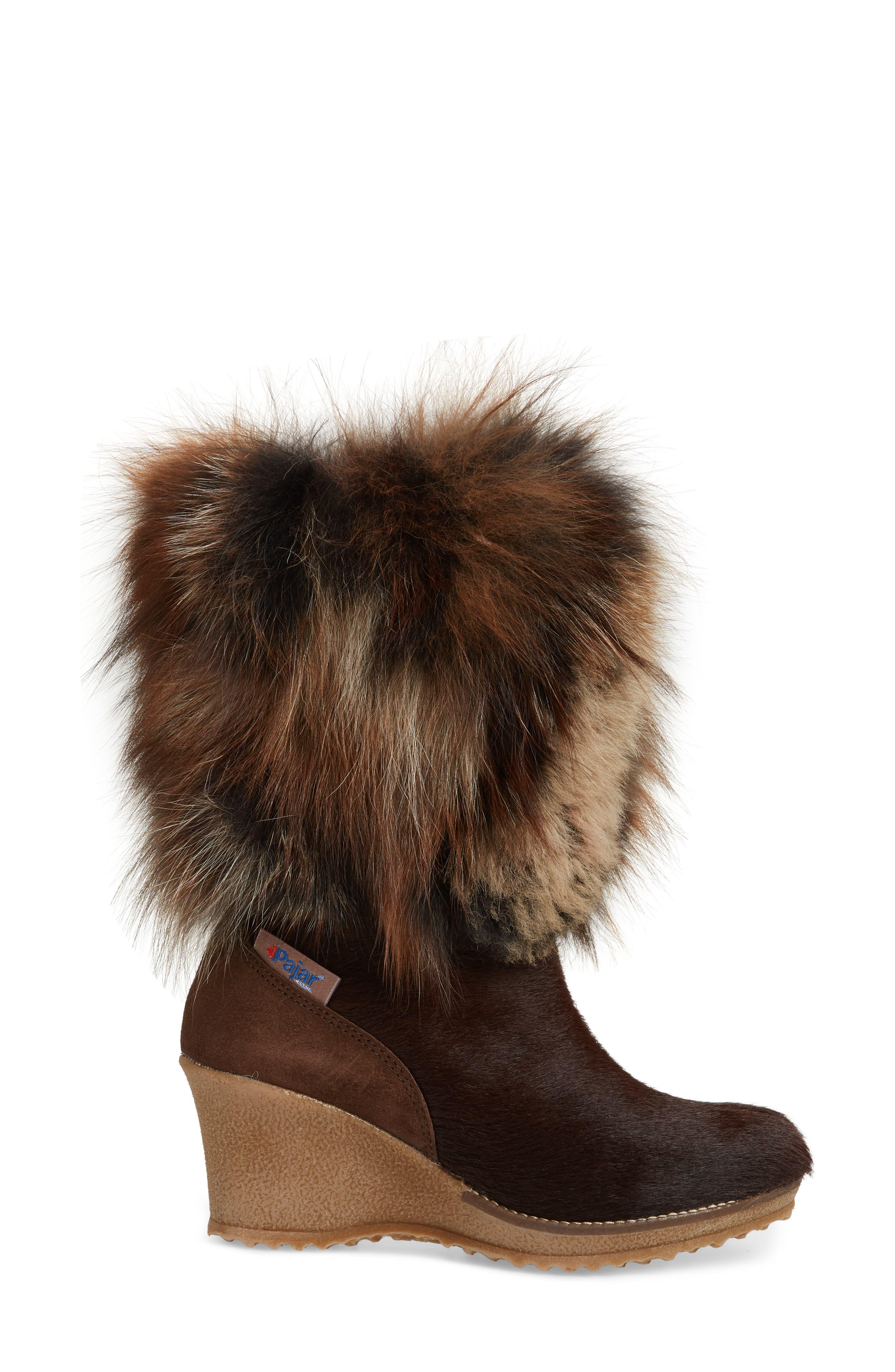 Angelina Genuine Fox Fur Wedge Boot,                             Alternate thumbnail 11, color,