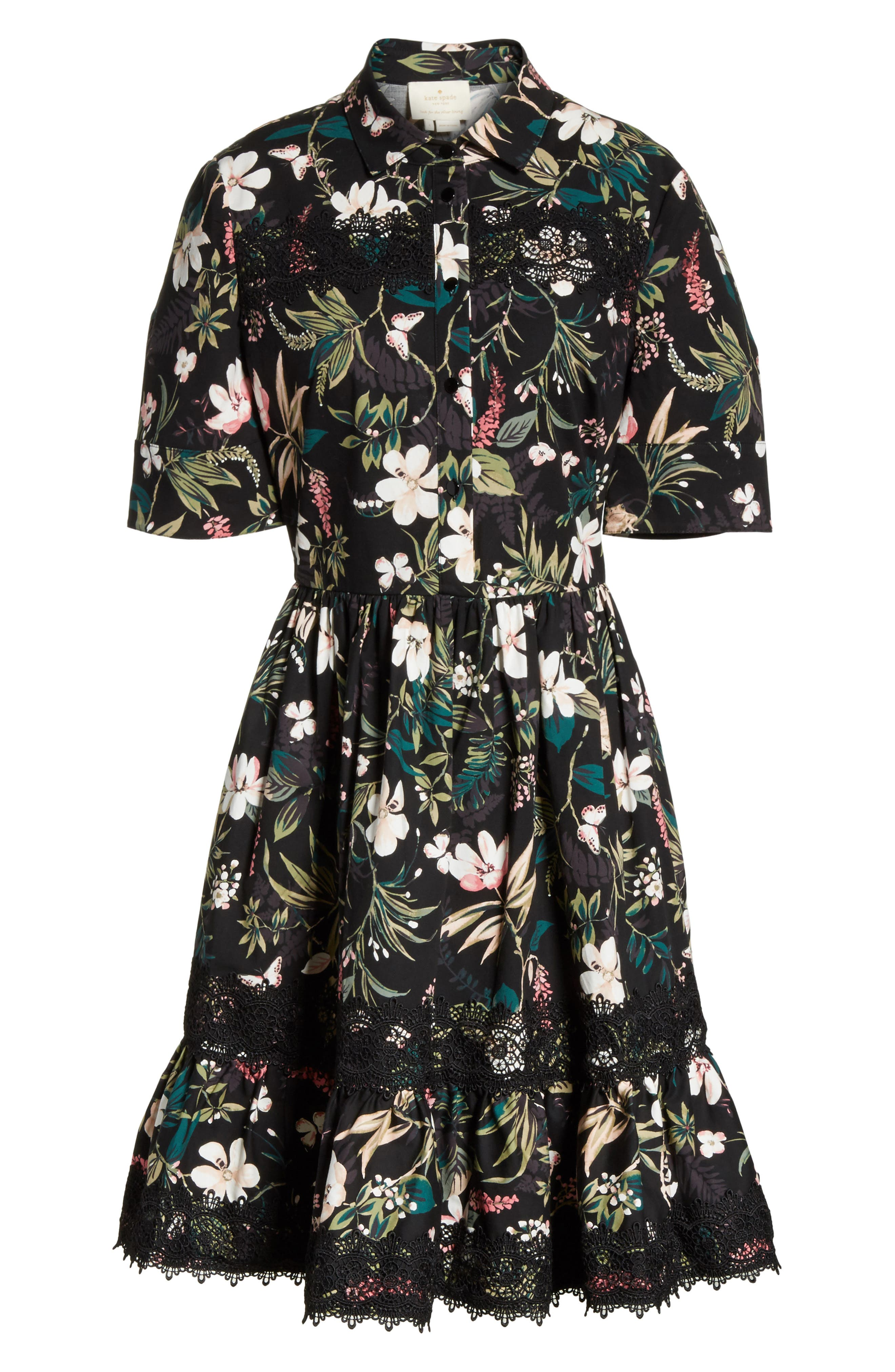 botanical poplin shirtdress,                             Alternate thumbnail 6, color,                             001