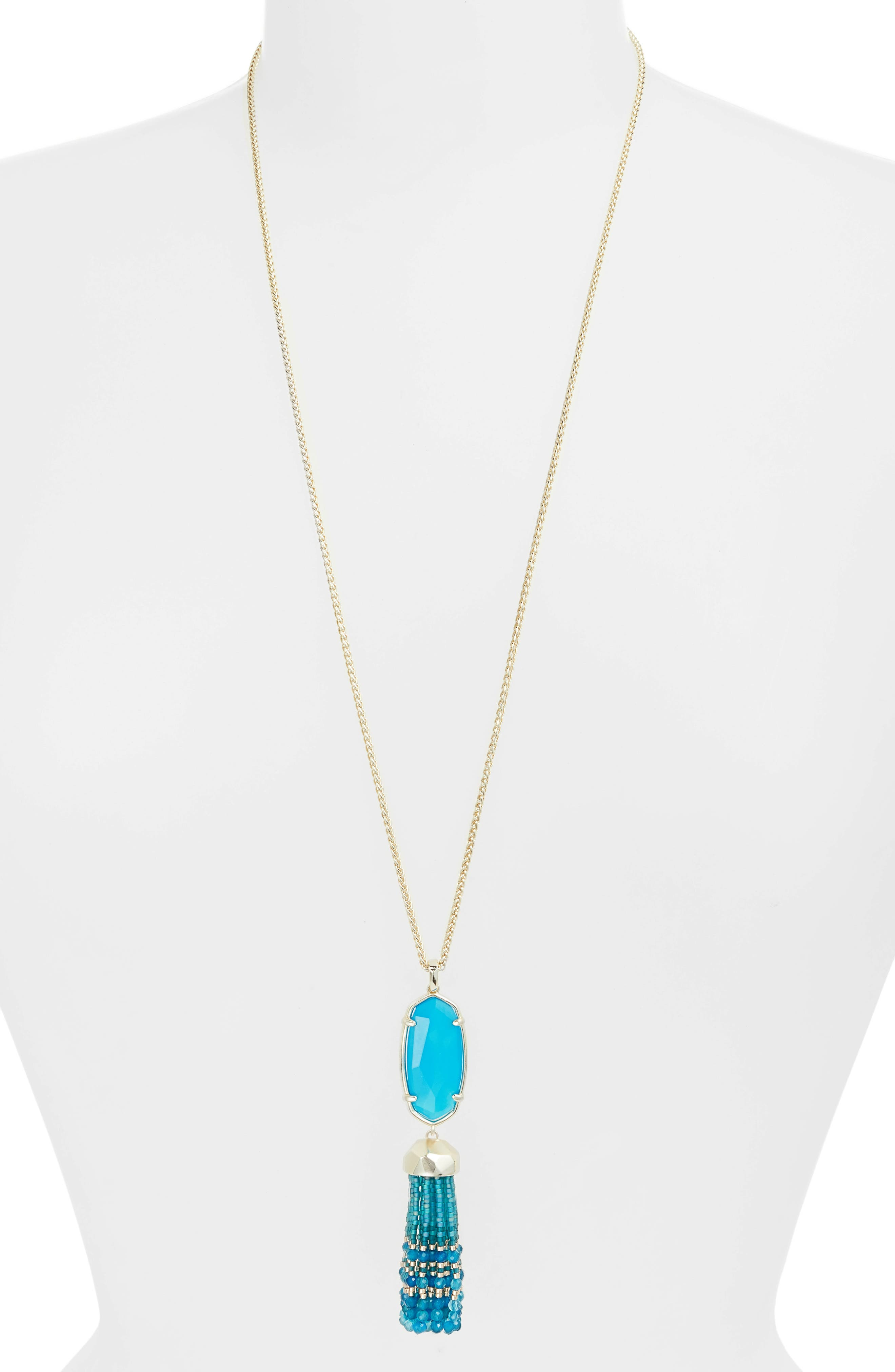 Eva Tassel Pendant Necklace,                         Main,                         color, TEAL UNBANDED AGATE/ GOLD