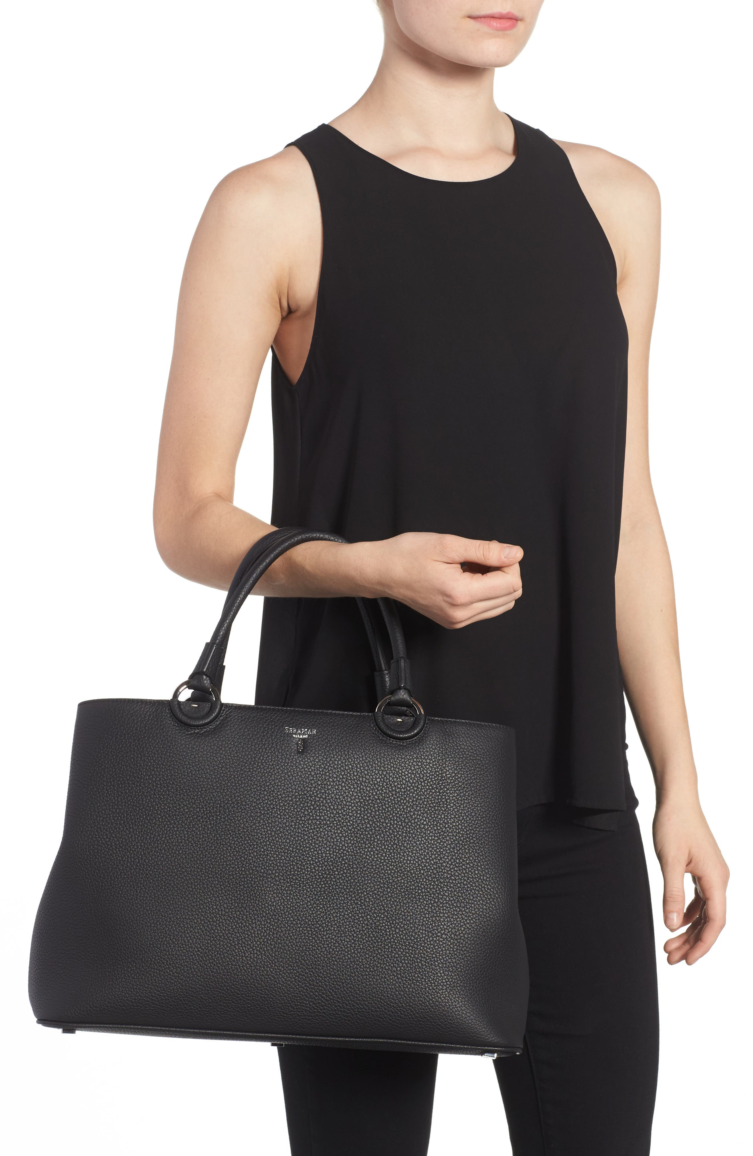 Veronica Cachemire Leather Tote,                             Alternate thumbnail 2, color,                             001