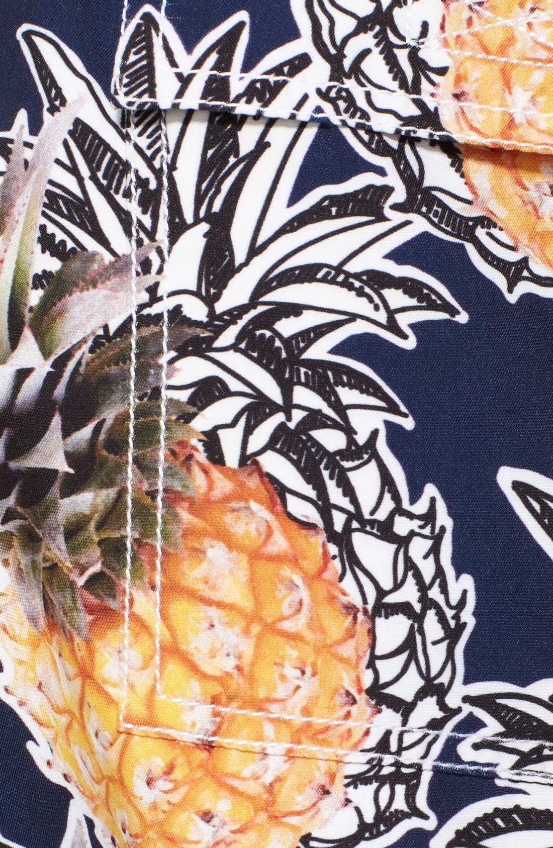'Moorea' Pineapple Print Swim Trunks,                             Alternate thumbnail 3, color,                             401