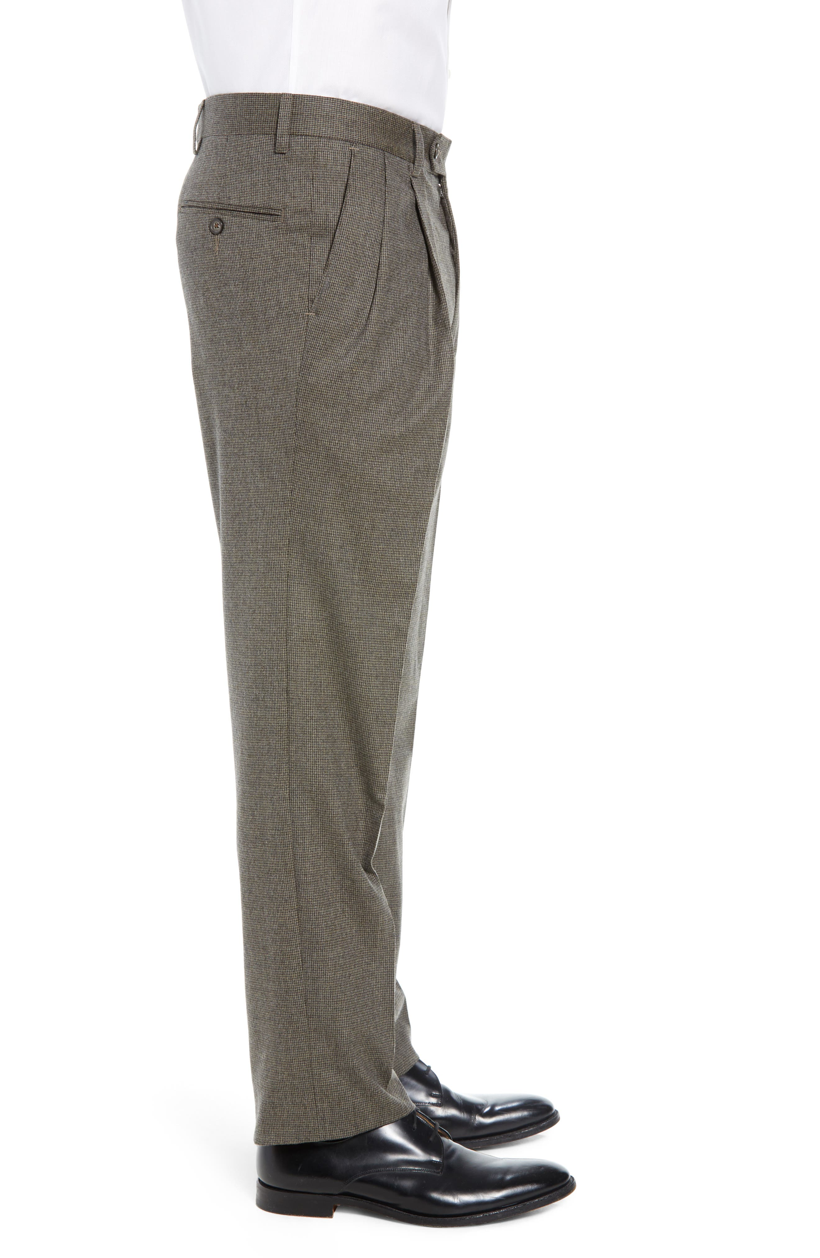 Pleated Stretch Houndstooth Wool Trousers,                             Alternate thumbnail 3, color,                             TAN