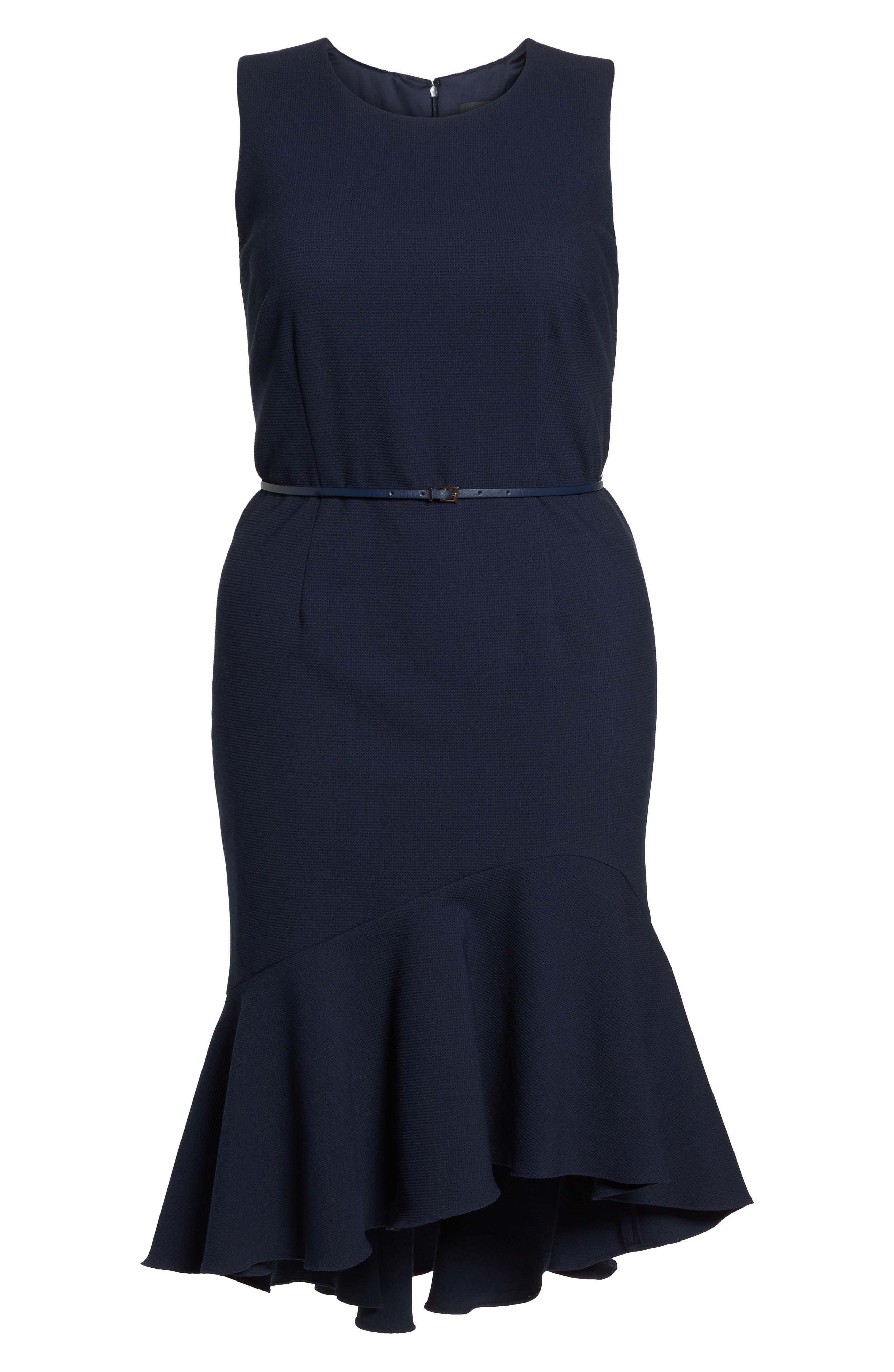 Structured Knit Asymmetrical Trumpet Midi Dress,                             Alternate thumbnail 6, color,