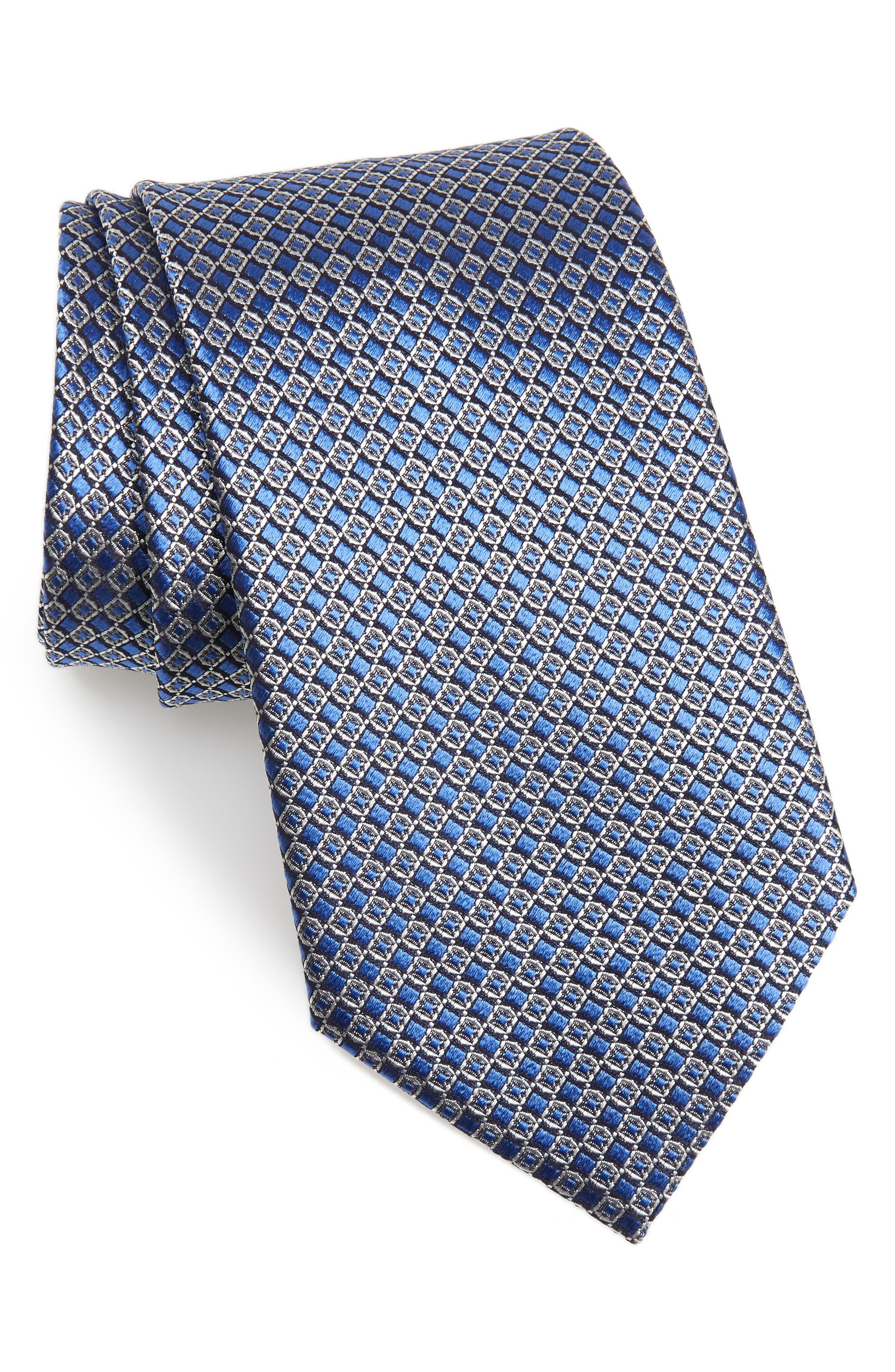 Geometric Silk Tie,                             Main thumbnail 1, color,                             MEDIUM BLUE