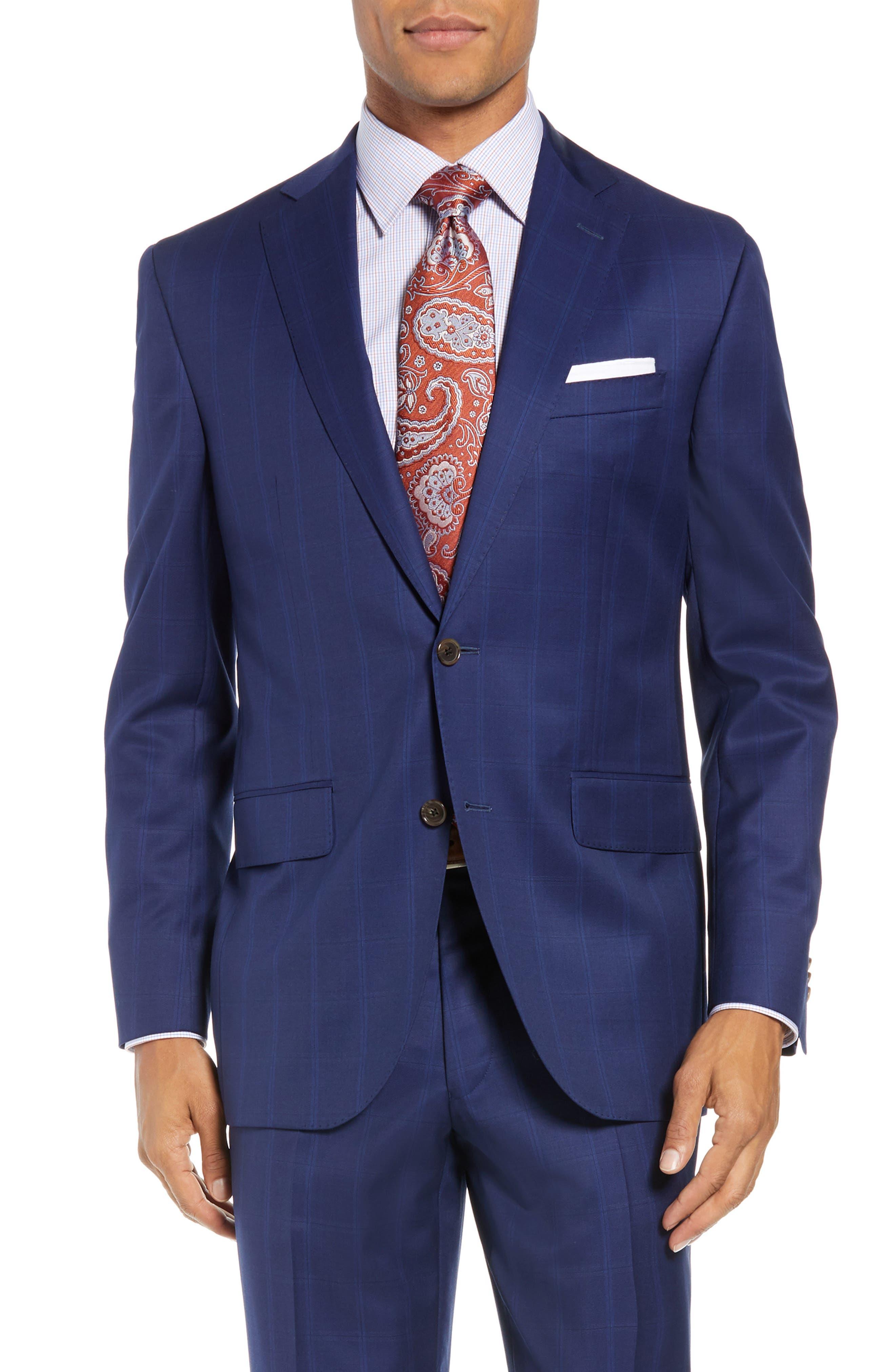 DAVID DONAHUE,                             Ryan Classic Fit Windowpane Wool Suit,                             Alternate thumbnail 5, color,                             400