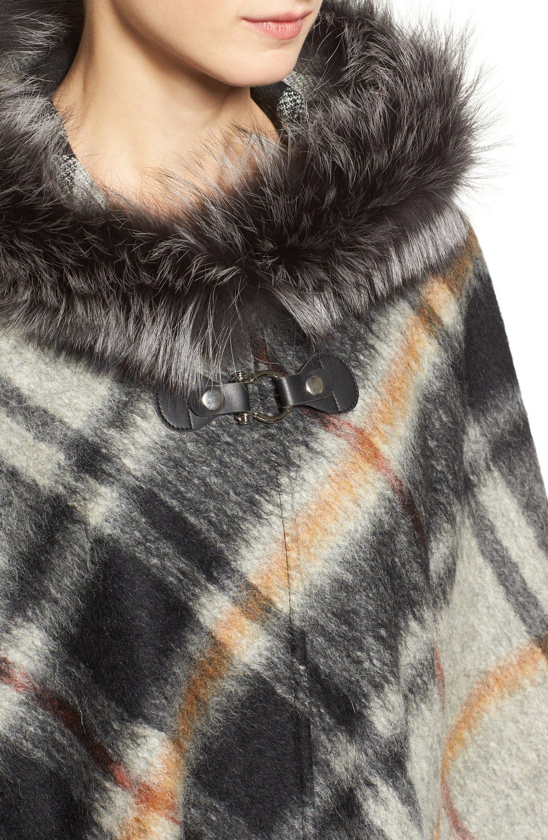 HISO,                             Hide Society Hooded Plaid Cape with Genuine Fox Fur Trim,                             Alternate thumbnail 5, color,                             020