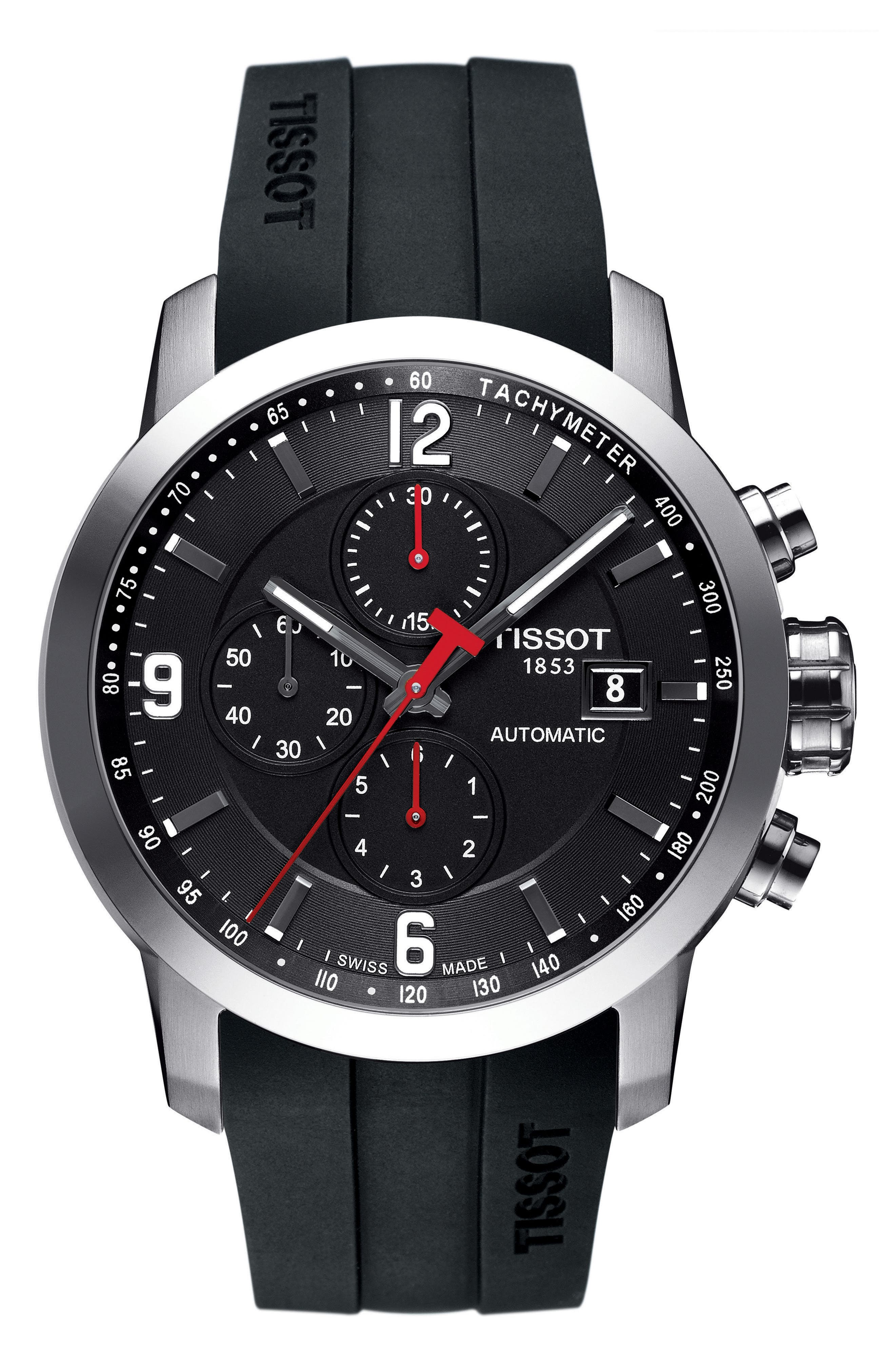 TISSOT,                             PRC200 Automatic Chronograph Silicone Strap Watch, 43mm,                             Main thumbnail 1, color,                             BLACK/ SILVER