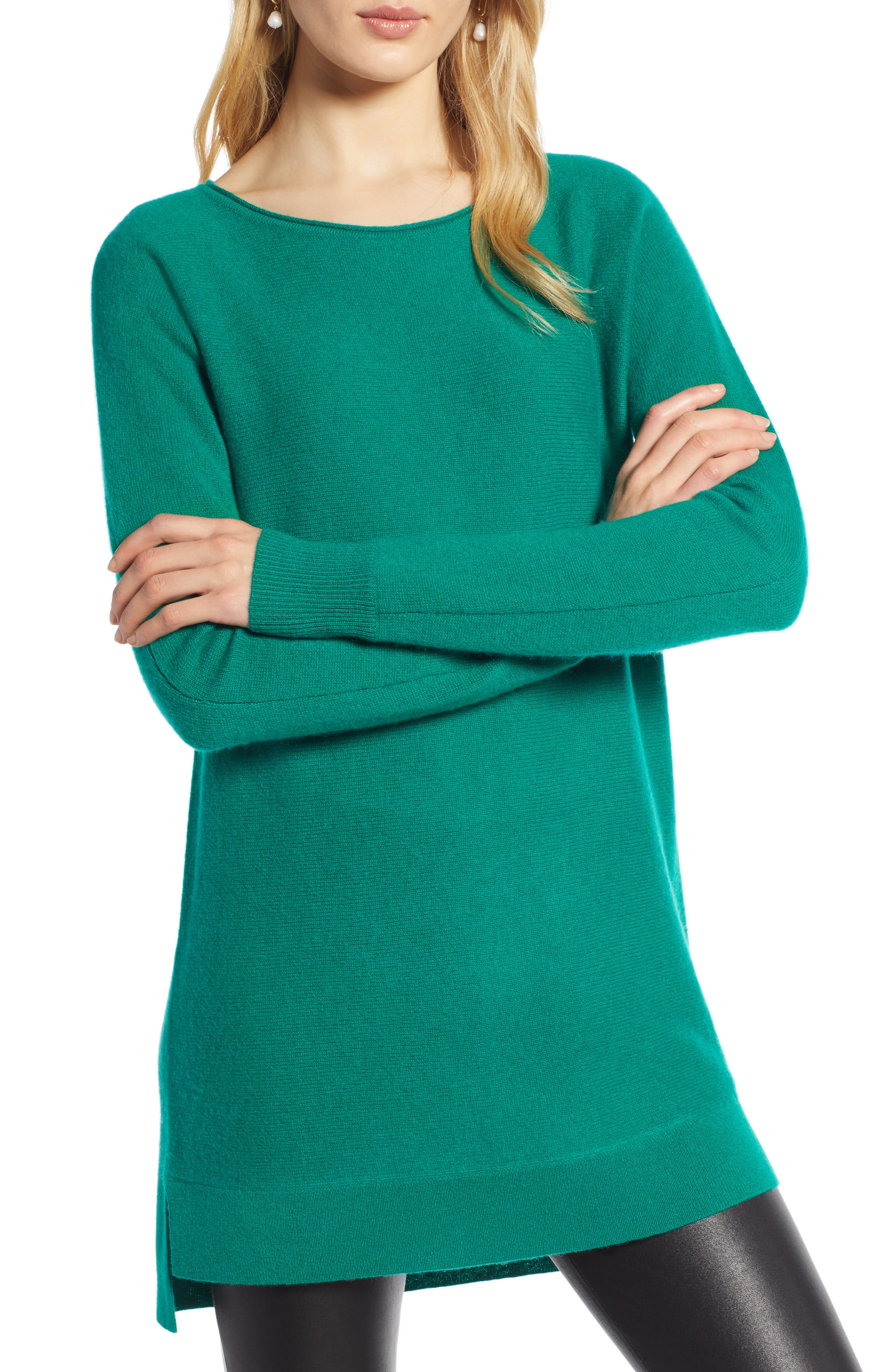 High/Low Wool & Cashmere Tunic Sweater,                         Main,                         color, GREEN ULTRA