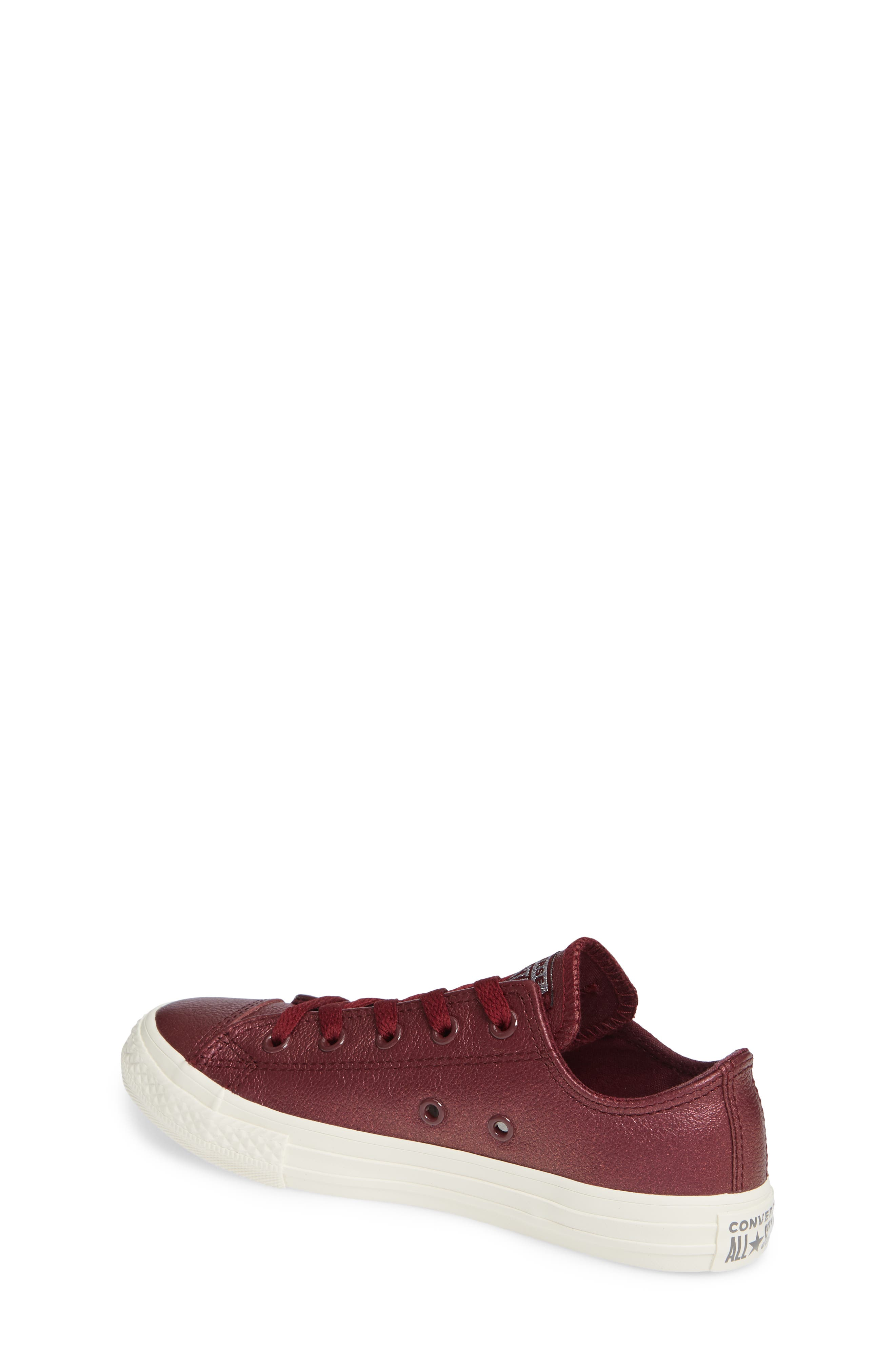 Chuck Taylor<sup>®</sup> All Star<sup>®</sup> Metallic Faux Leather Ox Sneaker,                             Alternate thumbnail 2, color,                             DARK BURGUNDY