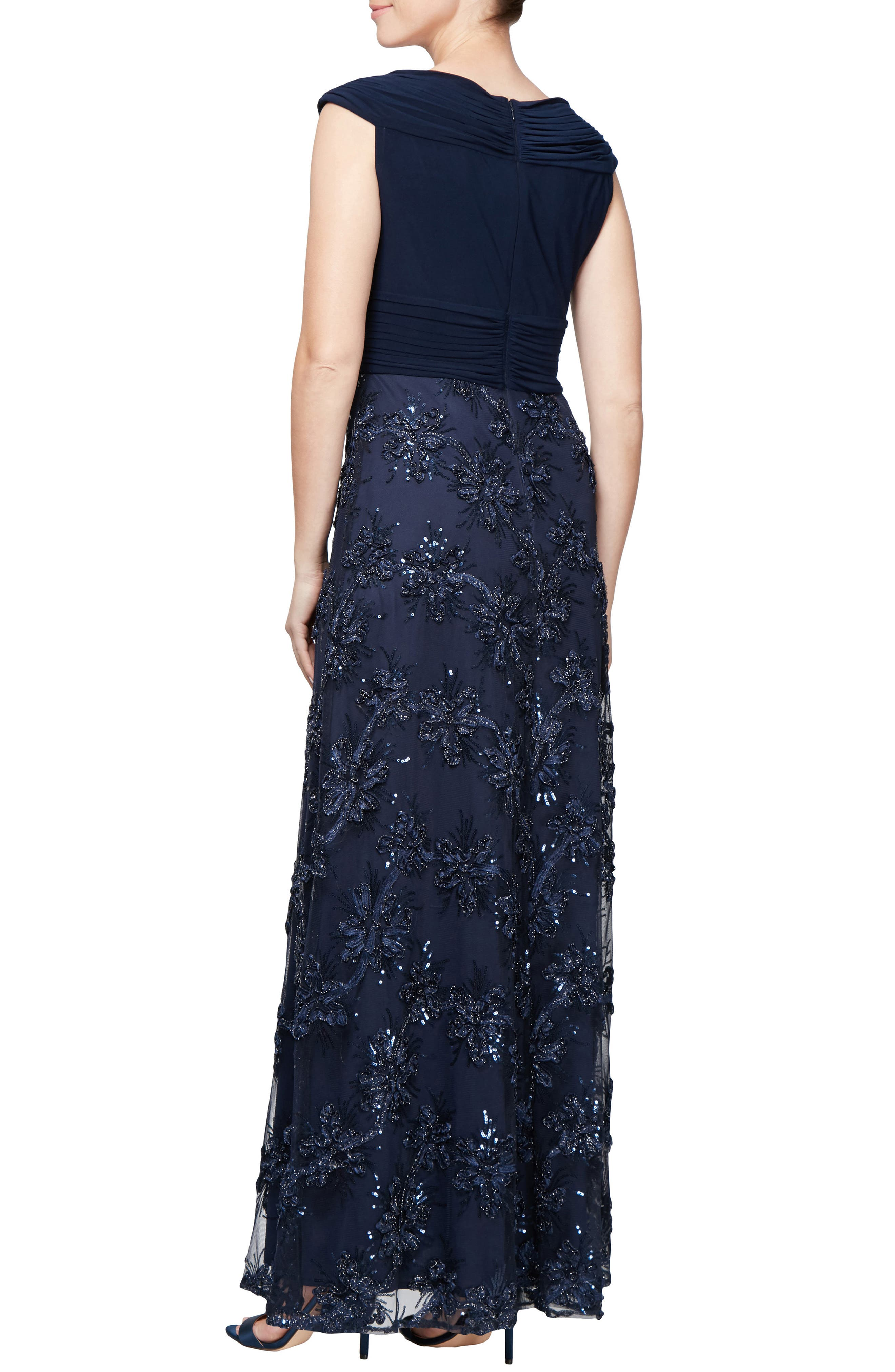 Embellished A-Line Gown,                             Alternate thumbnail 2, color,                             NAVY