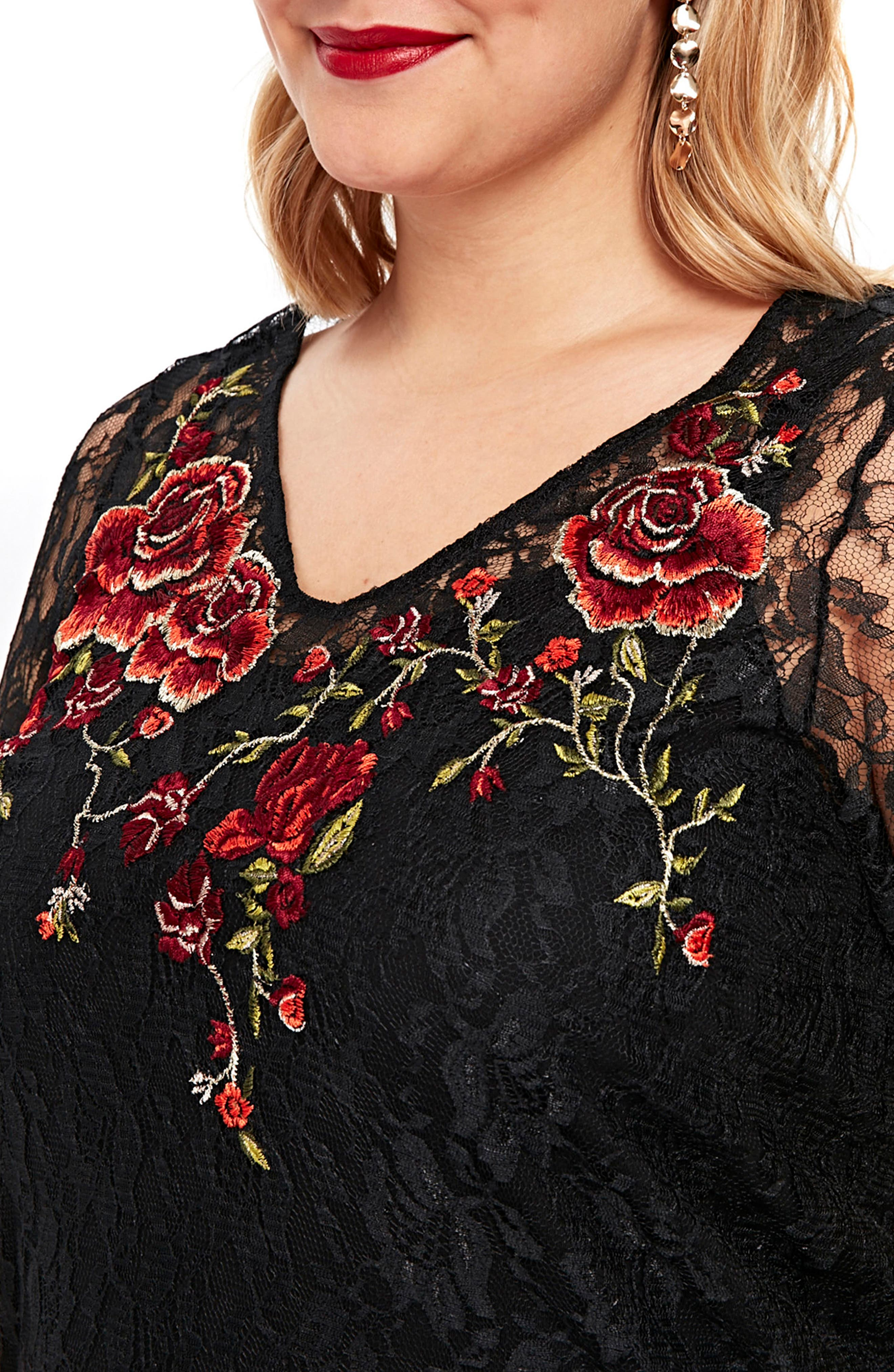 Embroidered Lace Tunic,                             Alternate thumbnail 3, color,                             001