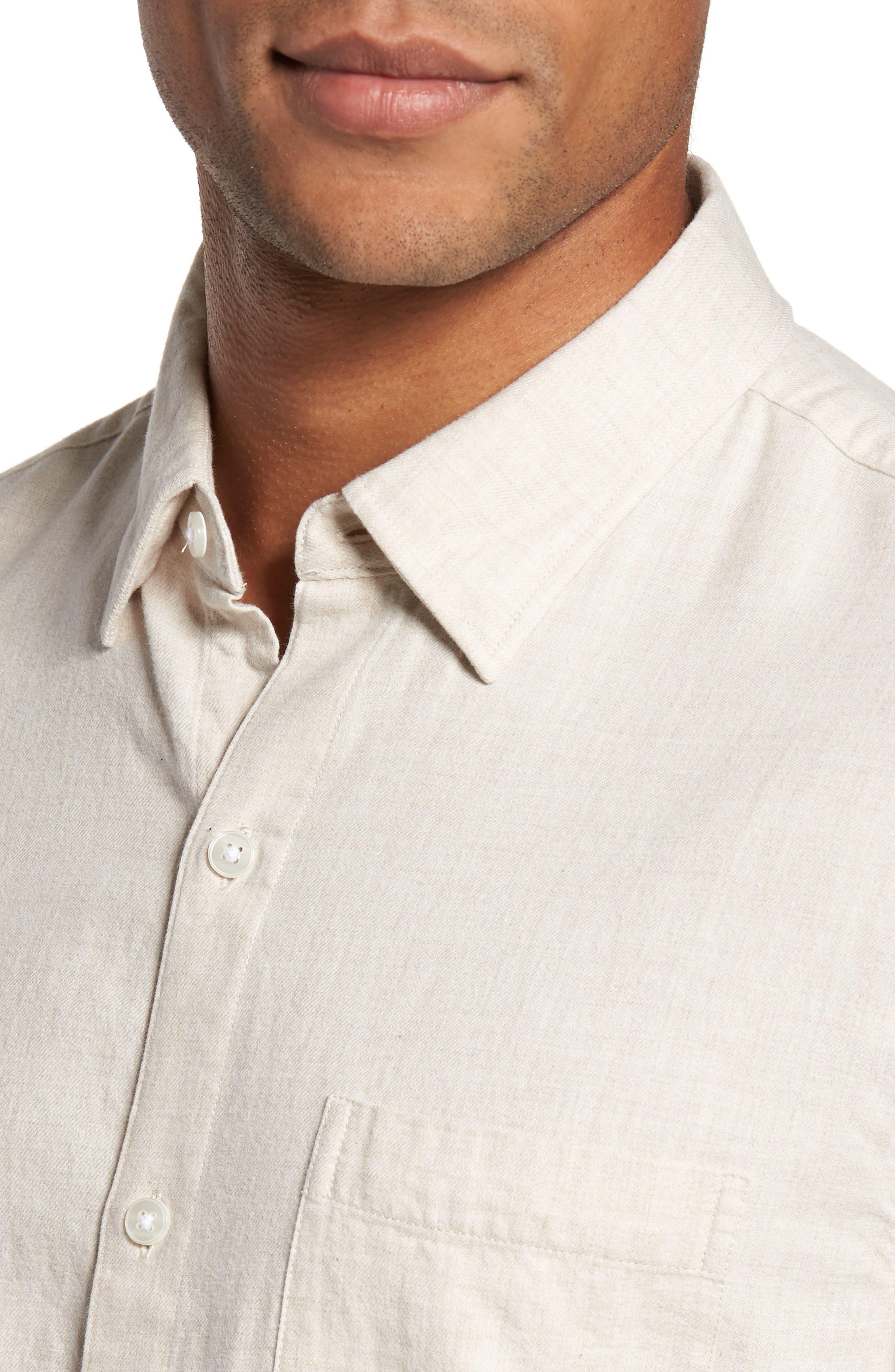 Slim Fit Brushed Twill Sport Shirt,                             Alternate thumbnail 4, color,