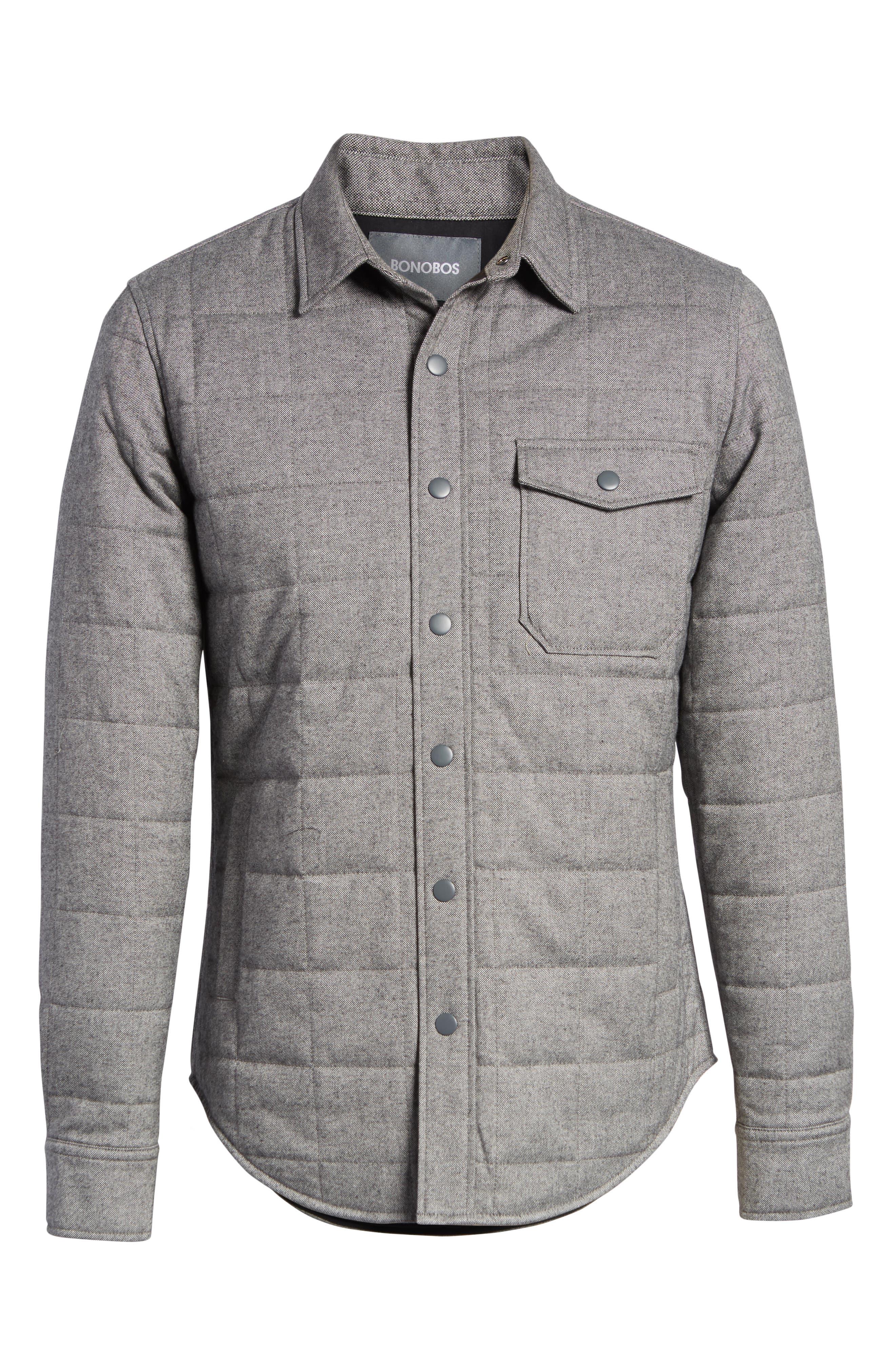 Quilted Herringbone Shirt Jacket,                             Alternate thumbnail 6, color,                             GREY COTTON HERRINGBONE
