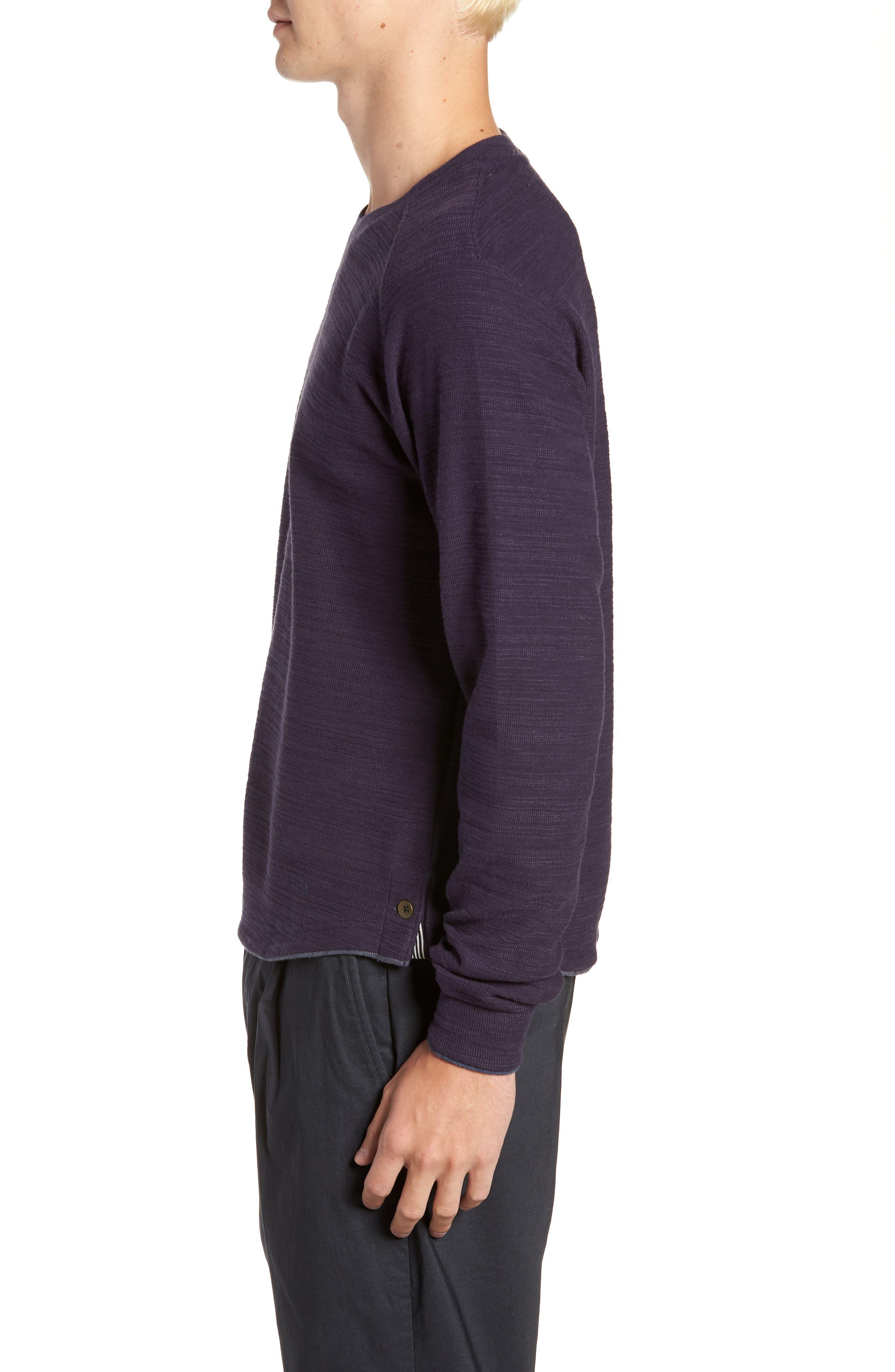 250 Loft Slubbed Crewneck Sweater,                             Alternate thumbnail 3, color,                             NAVY