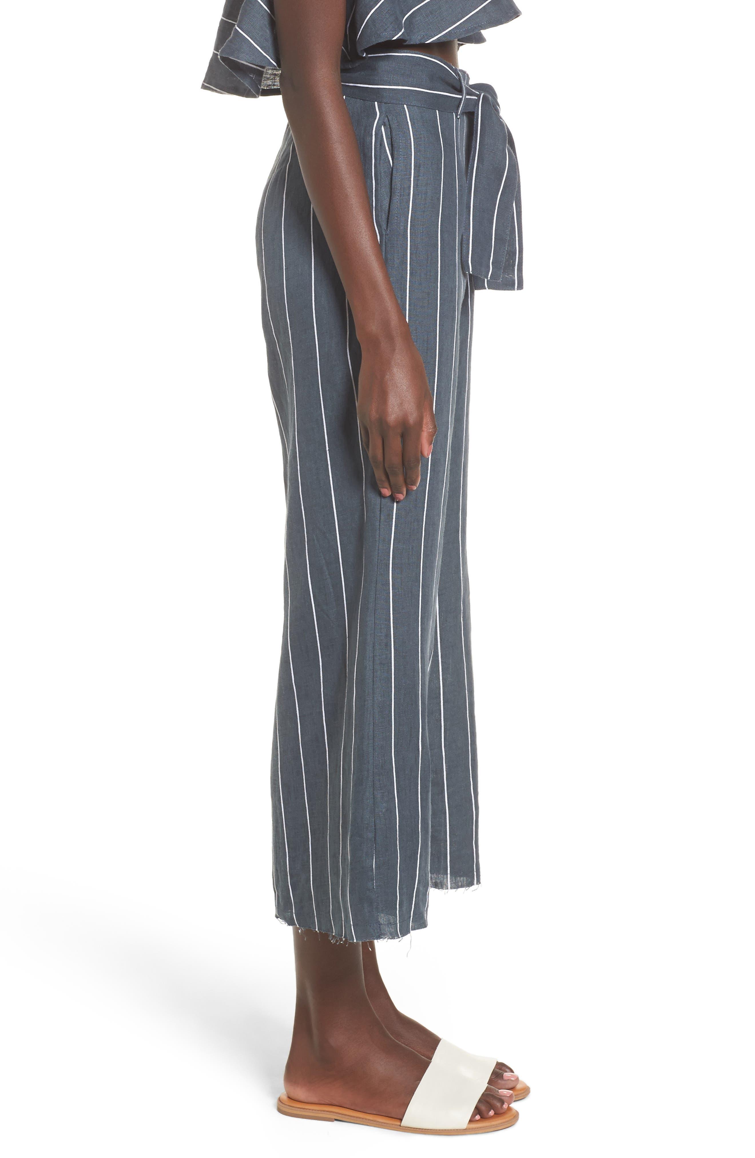 Como Pinstripe Wide Leg Crop Linen Pants,                             Alternate thumbnail 3, color,                             CHARCOAL