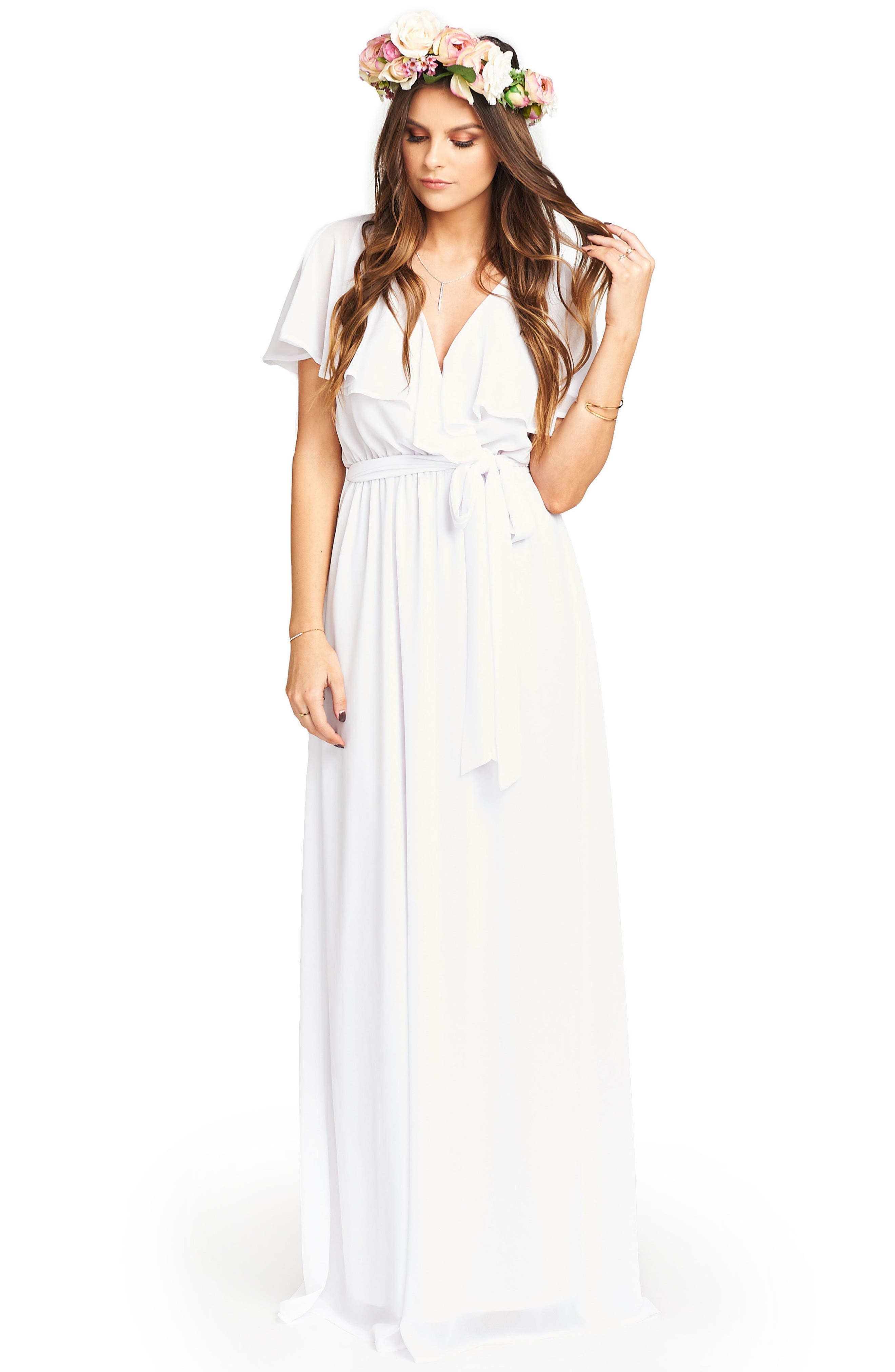 Audrey Ruffle Wrap Front Gown,                             Alternate thumbnail 4, color,                             120