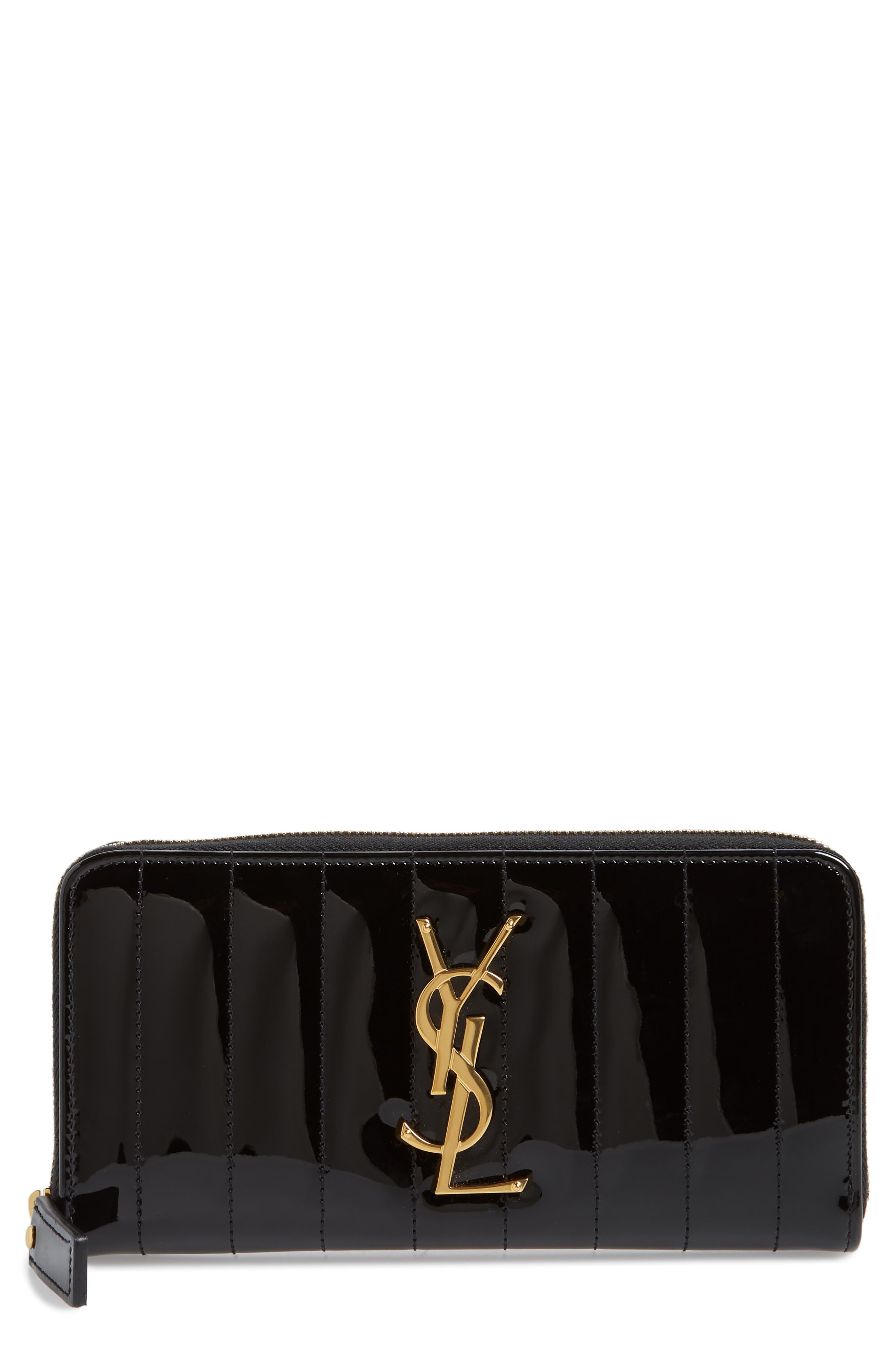 SAINT LAURENT,                             Vicky Patent Leather Zip Around Wallet,                             Main thumbnail 1, color,                             NOIR
