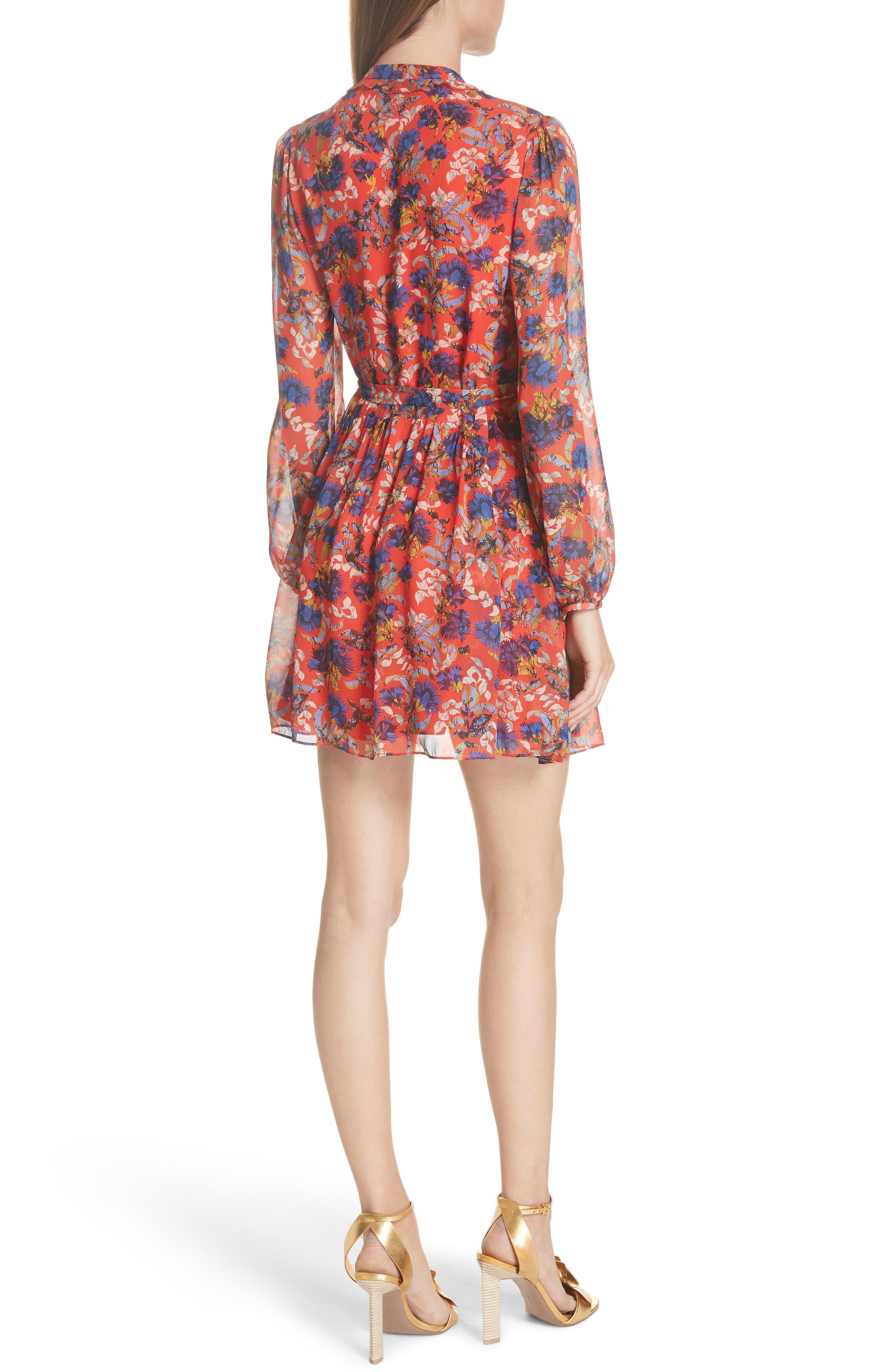 Tilly Ruffle Bib Silk Dress,                             Alternate thumbnail 2, color,                             FLAME AZALEA