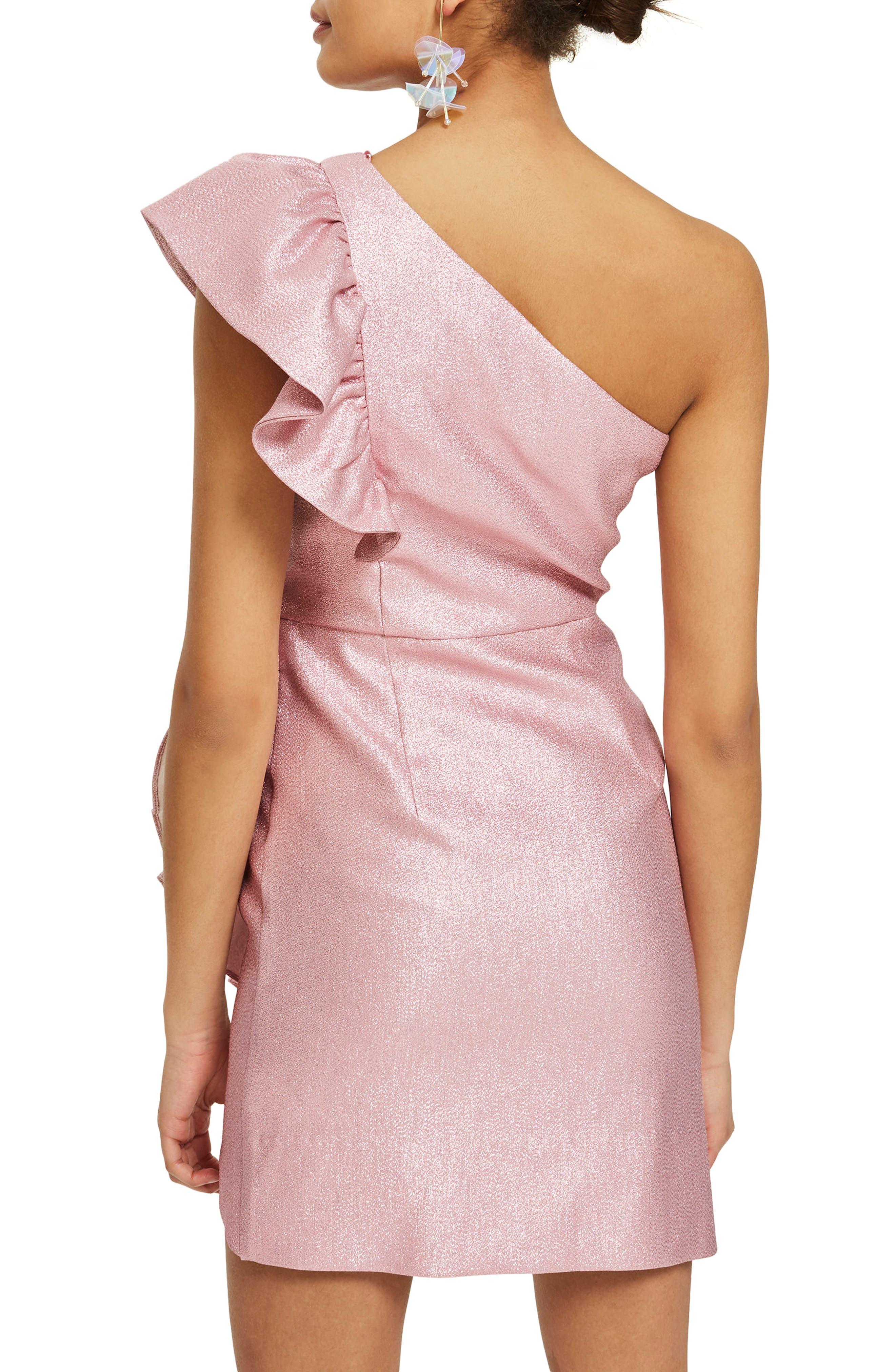 One-Shoulder Ruffle Minidress,                             Alternate thumbnail 4, color,