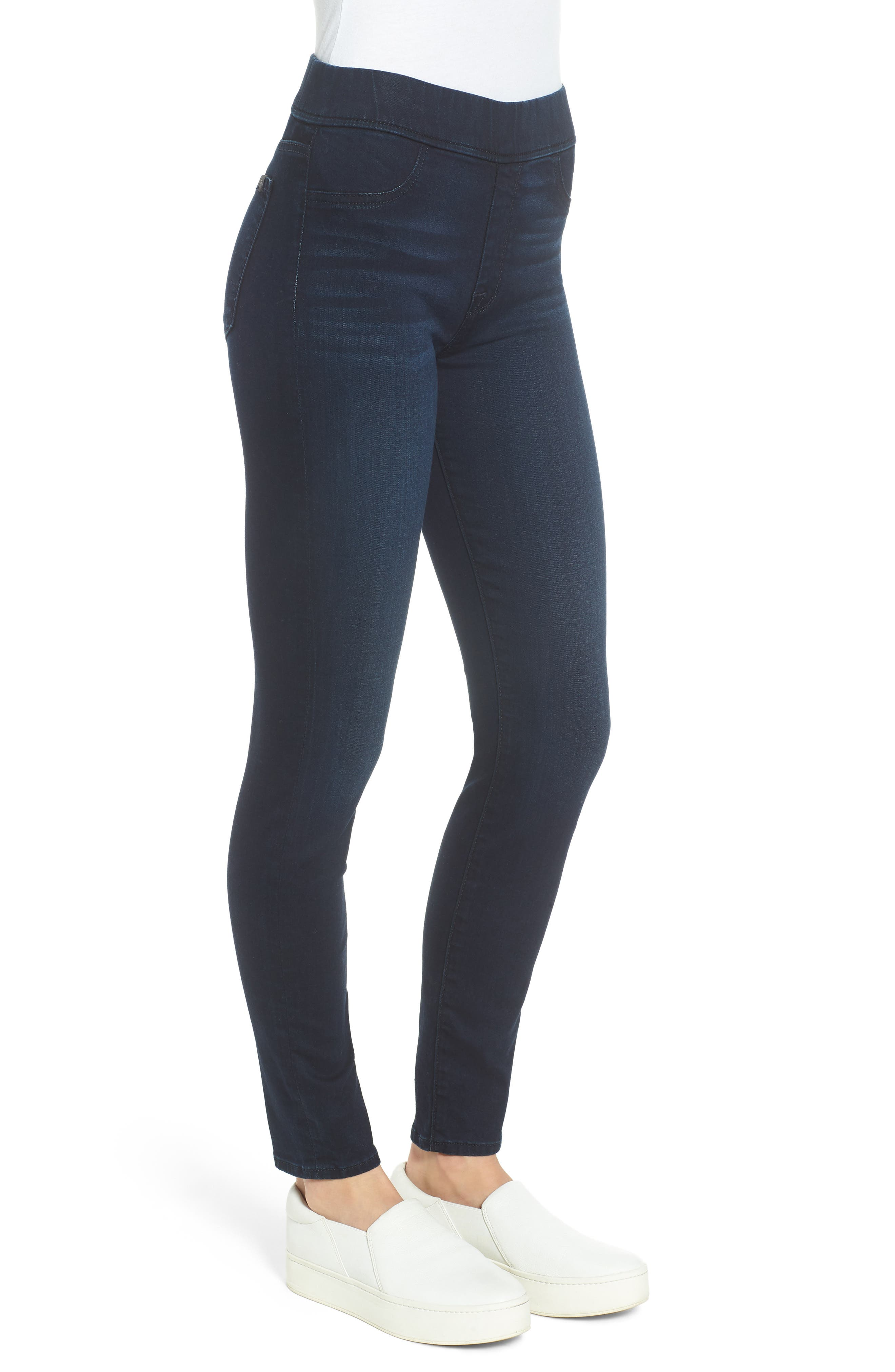 Comfort Skinny Denim Leggings,                             Alternate thumbnail 3, color,                             RICHE TOUCH BLUE/BLACK
