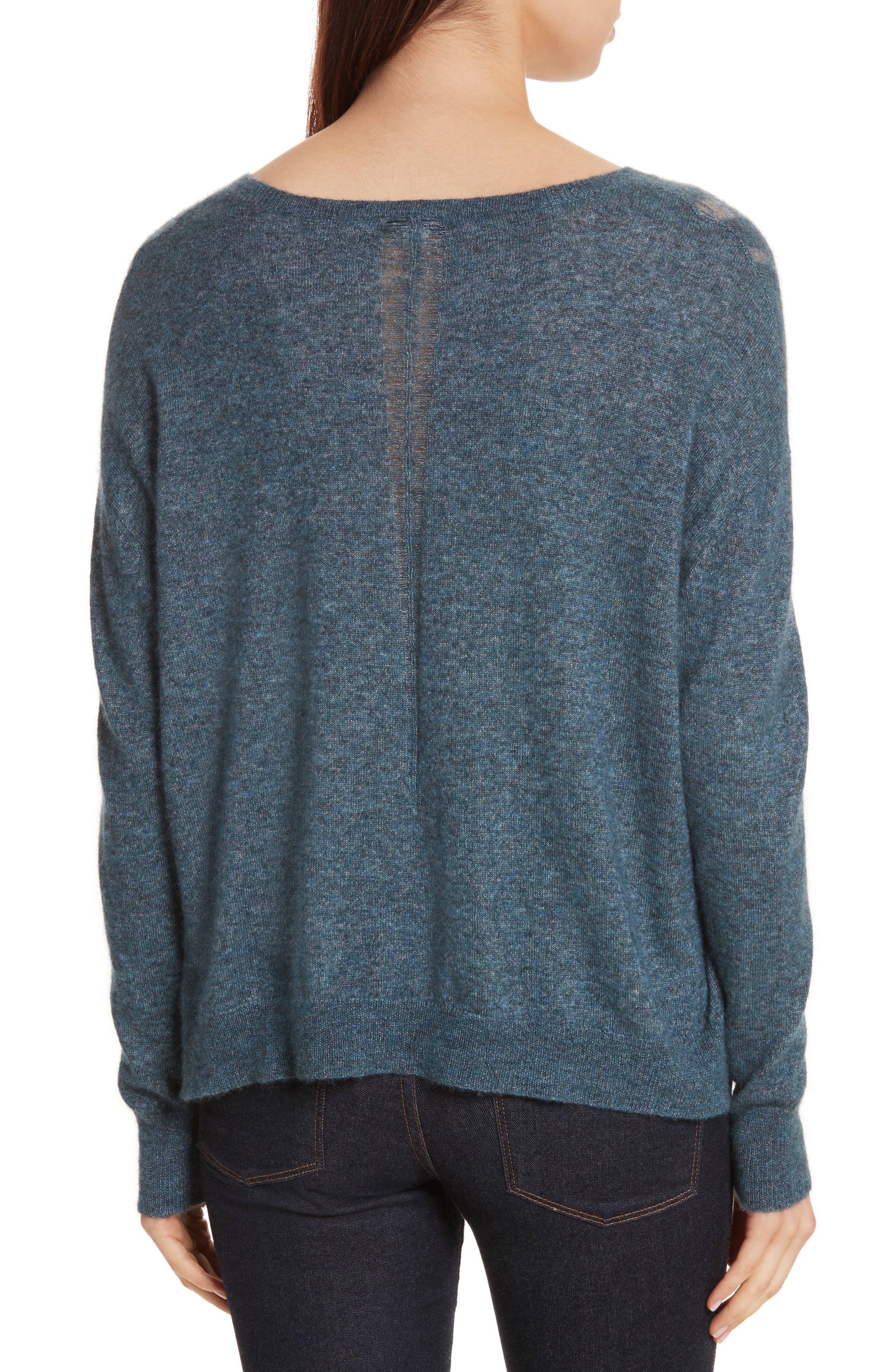 Boxy Ladder Stitch Cashmere & Silk Sweater,                             Alternate thumbnail 2, color,                             256