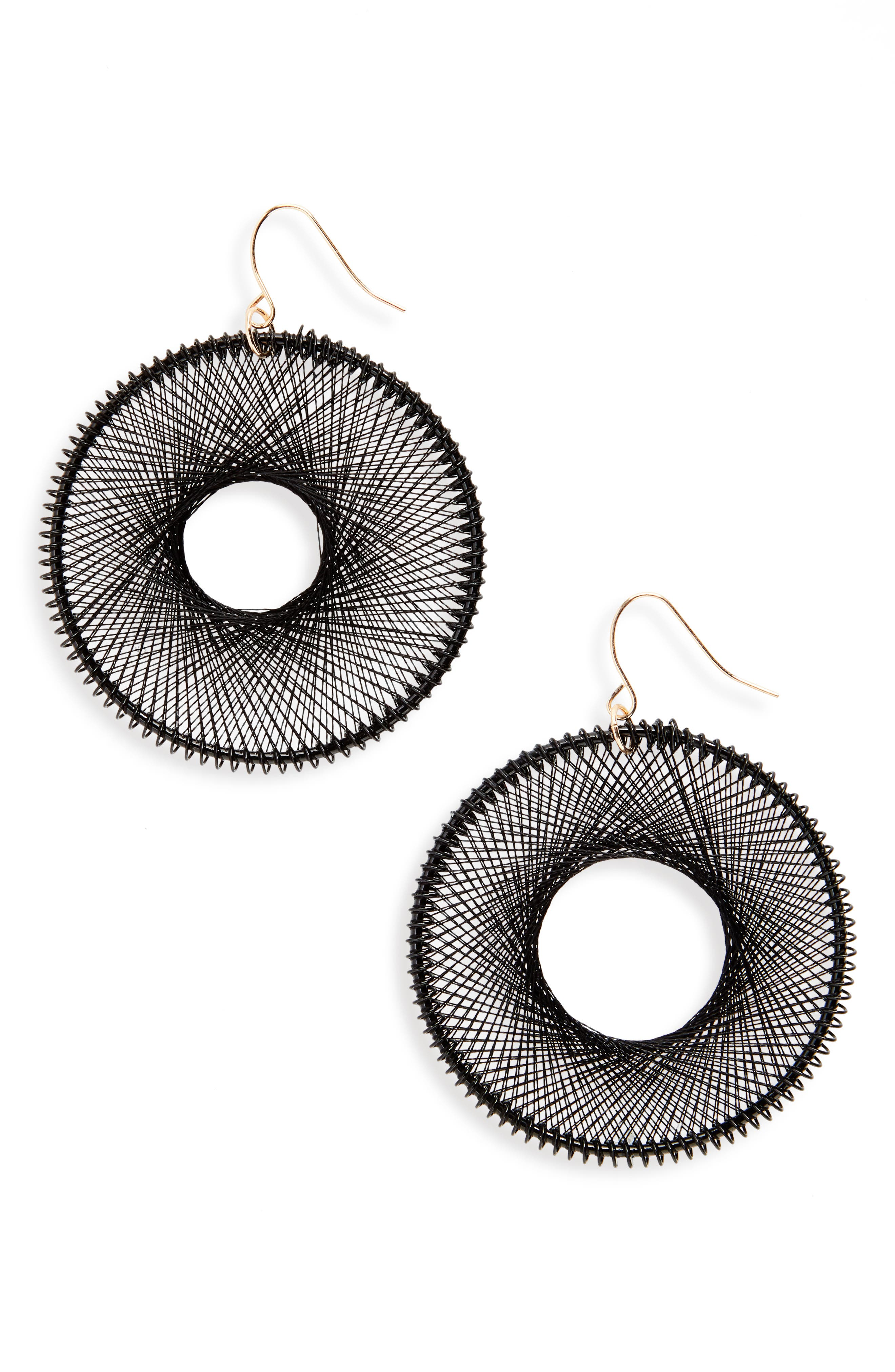 NATASHA COUTURE Natasha Silk Thread Hoop Earrings, Main, color, 001