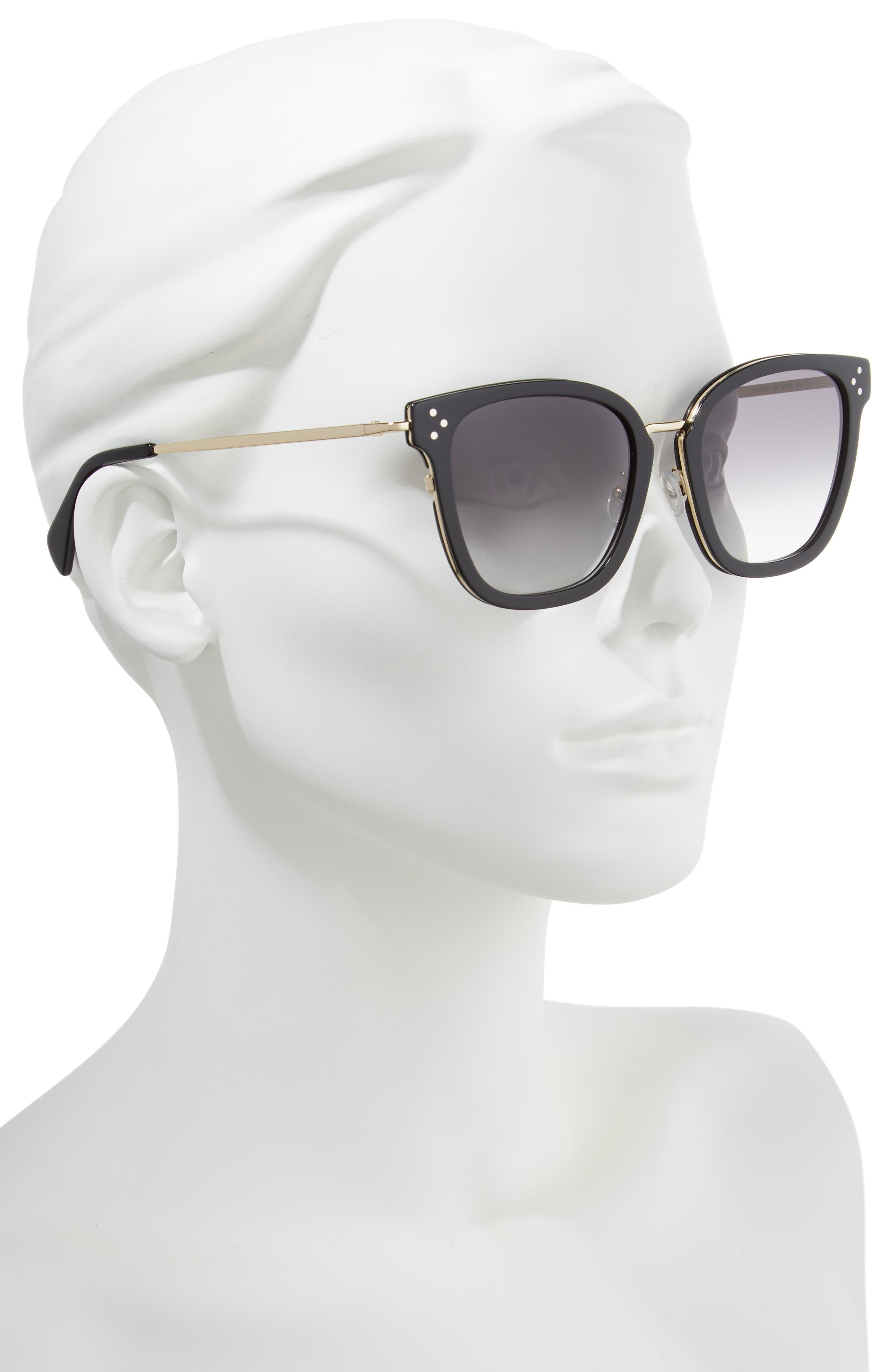 CELINE,                             Special Fit 54mm Sunglasses,                             Alternate thumbnail 2, color,                             BLACK/ GOLD/ SMOKE