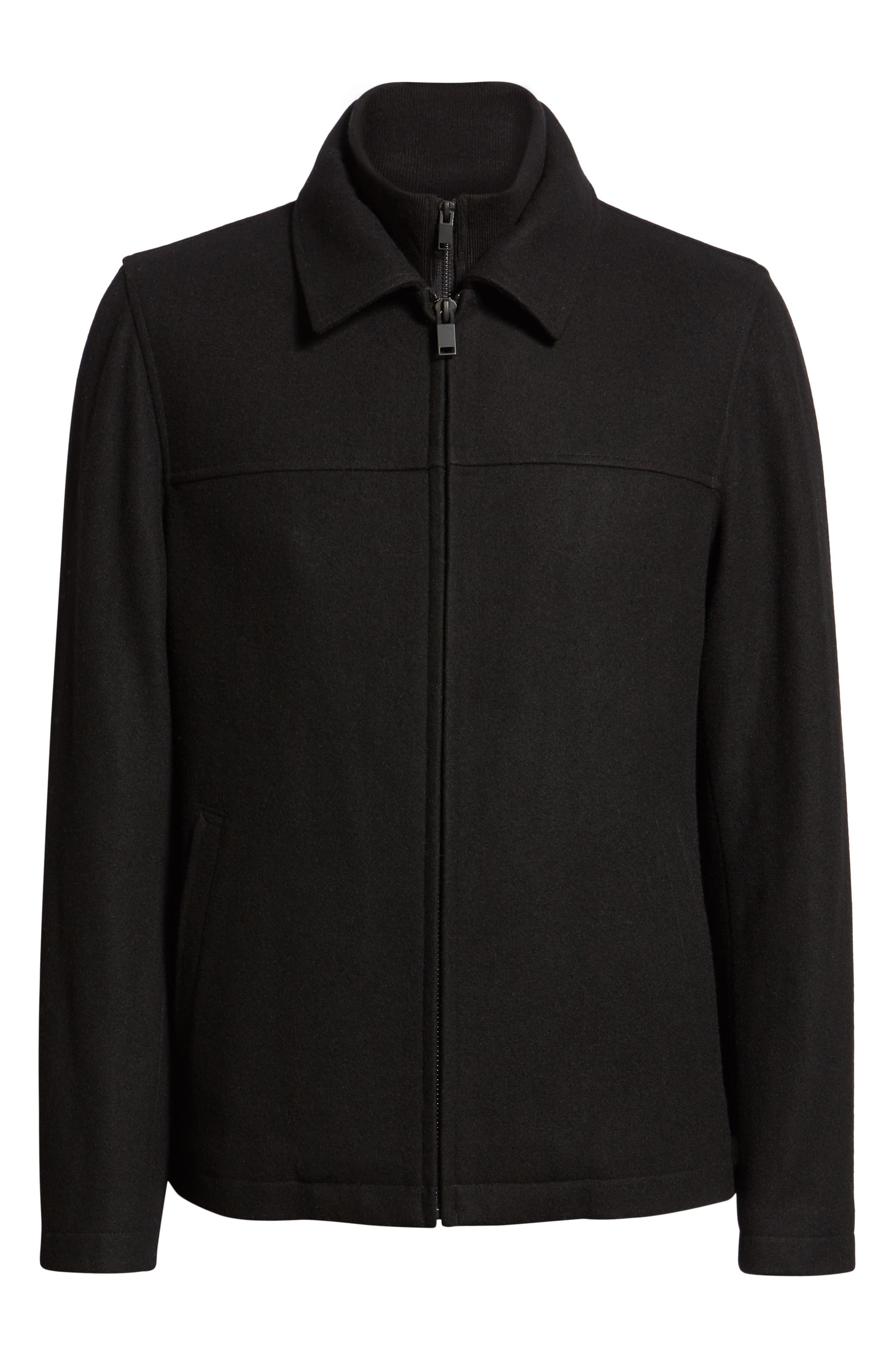 Layered Wool Blend Coat,                             Alternate thumbnail 6, color,                             BLACK