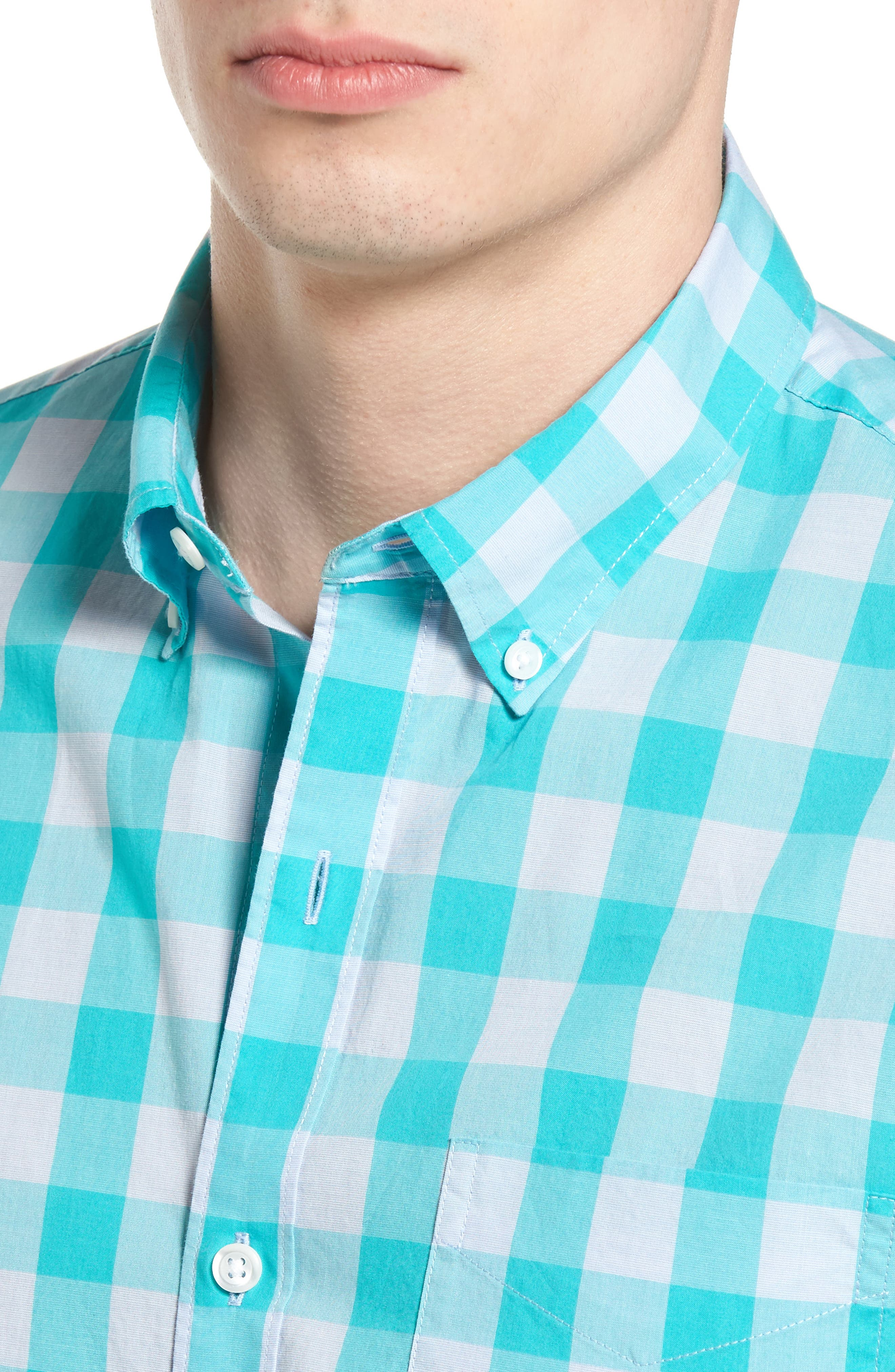 Slim Fit Summerweight Check Sport Shirt,                             Alternate thumbnail 4, color,                             400