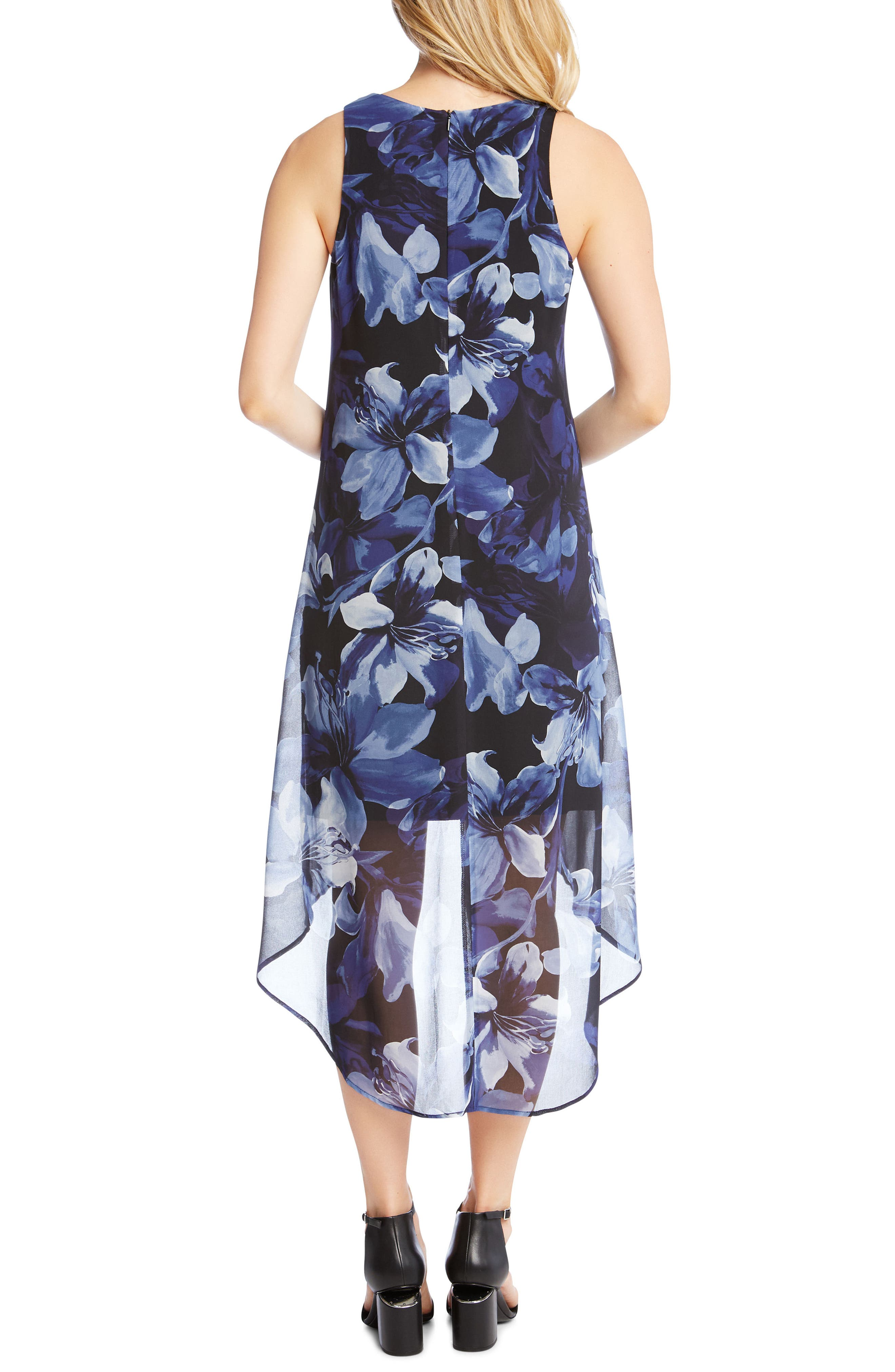 Floral Print High/Low Dress,                             Alternate thumbnail 2, color,