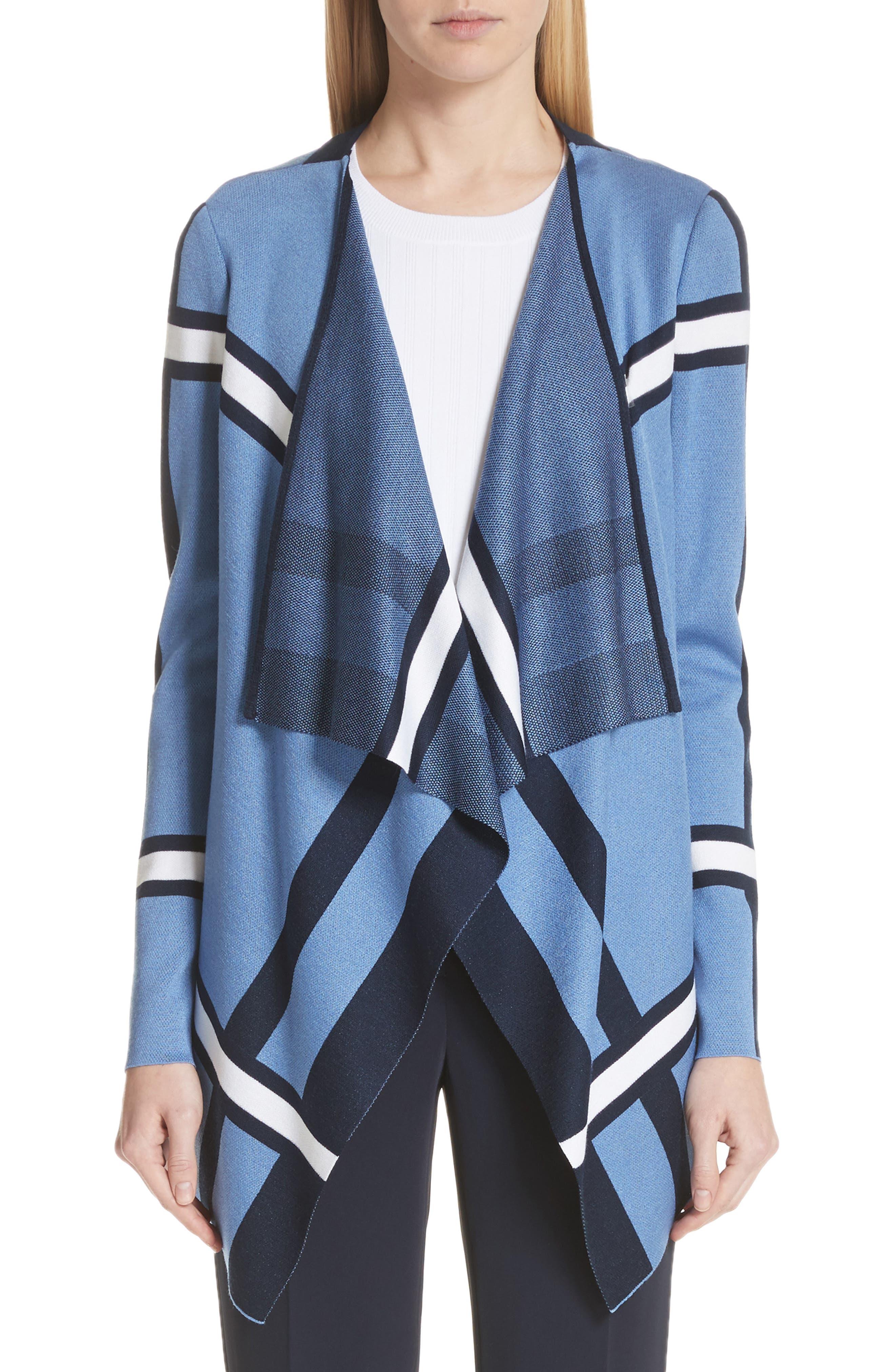 St. John Collection Variegated Stripe Cardigan, Size Petite - Blue