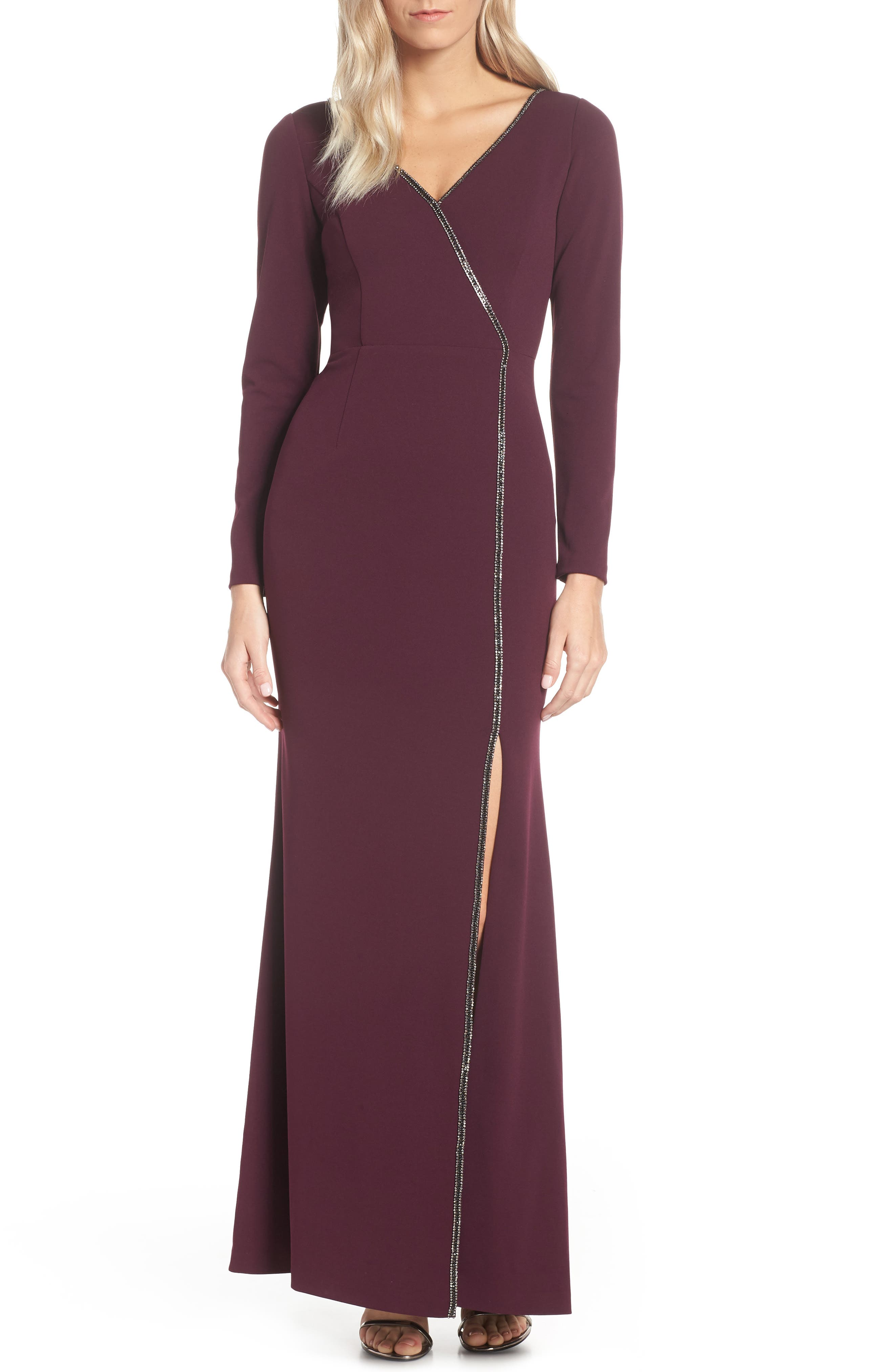 Adrianna Papell Crystal Trim Crepe Evening Dress