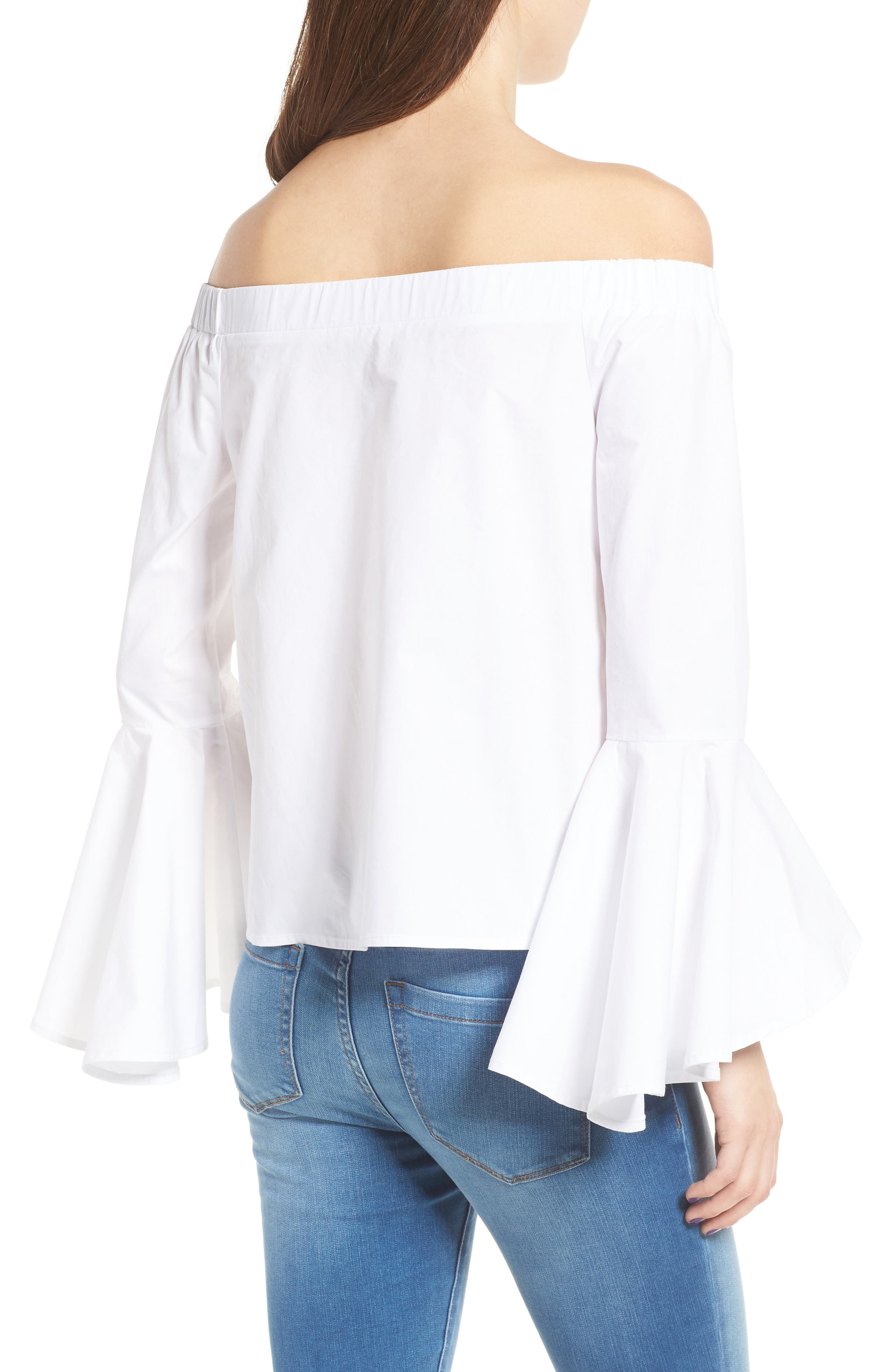 Bell Sleeve Off the Shoulder Blouse,                             Alternate thumbnail 2, color,                             100