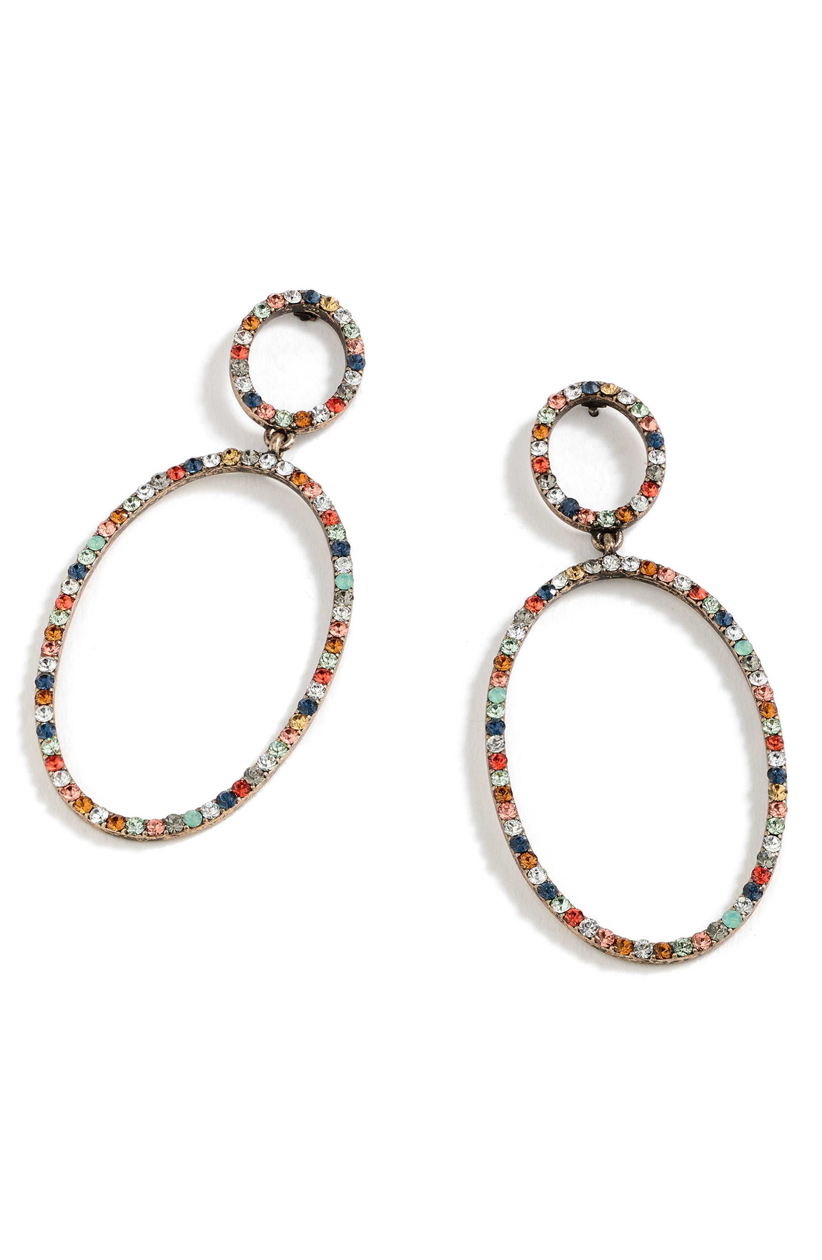 Pavé Double Oval Earrings,                             Main thumbnail 1, color,                             710