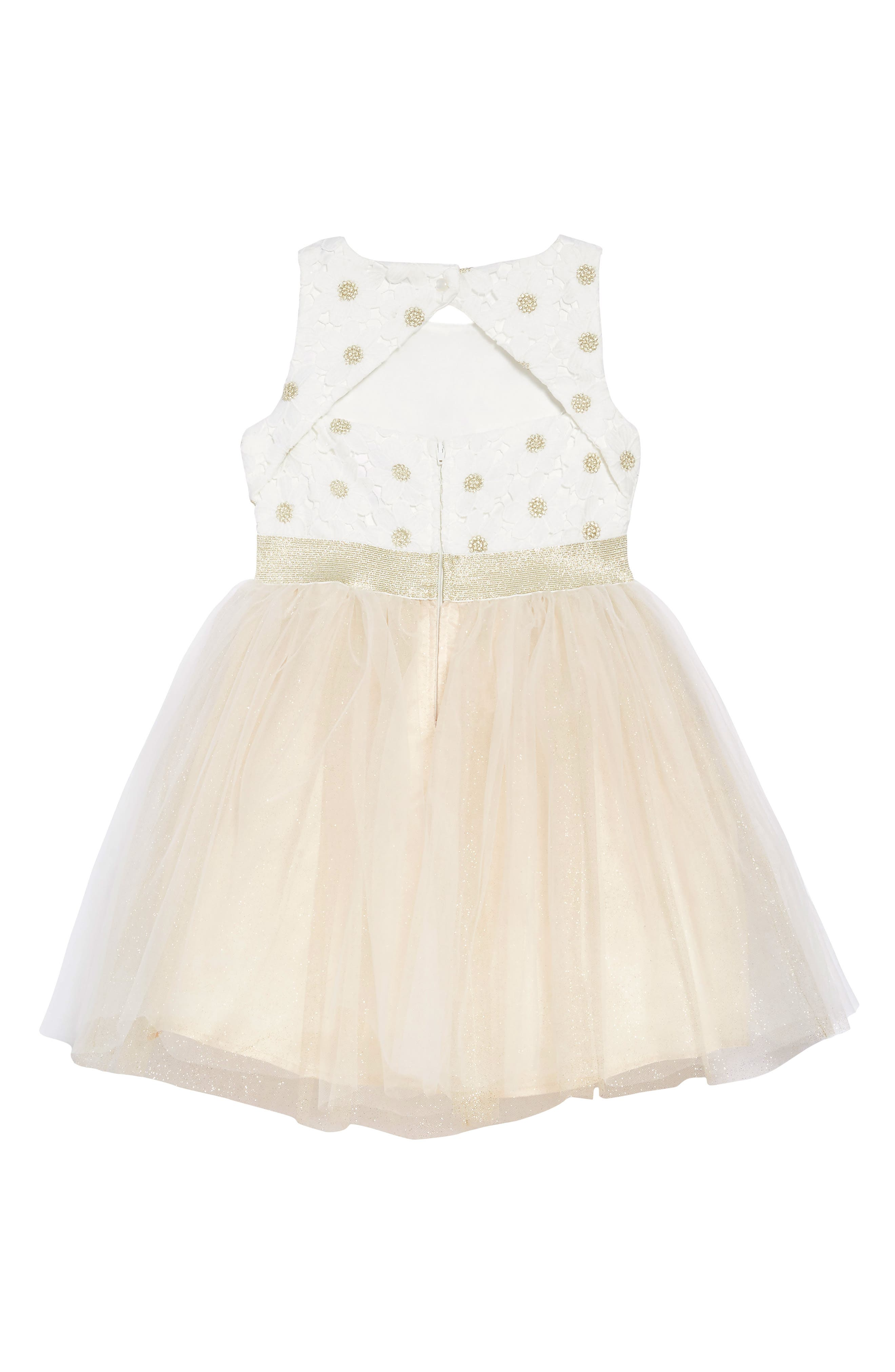 Daisy Fit & Flare Dress,                             Alternate thumbnail 2, color,                             IVORY/ CHAMPAGNE